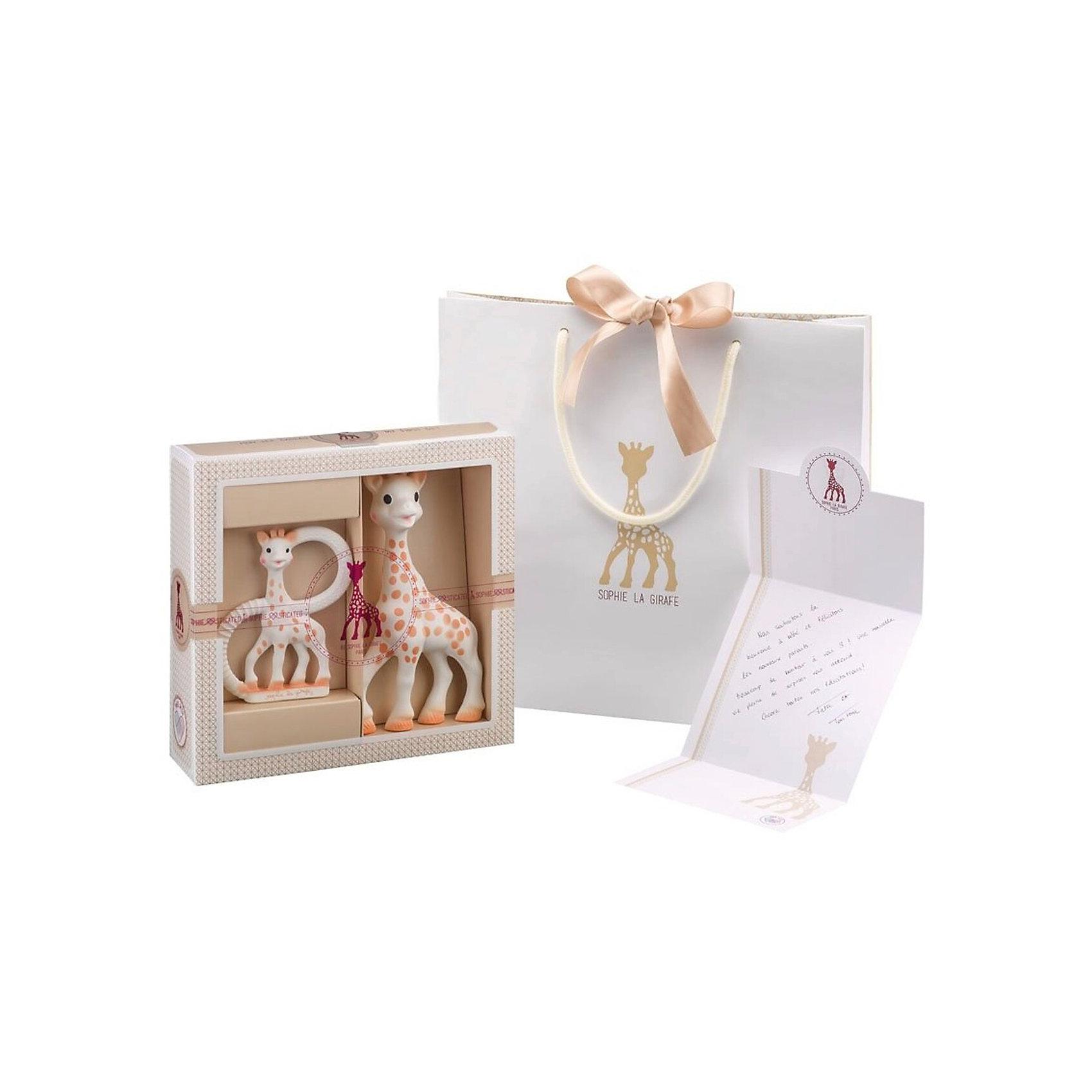 Жирафик Софи в подарочной упаковке, VulliВеликолепный подарок на рождение малыша! В набор входит: Жирафик Софи, прорезыватель необычной формы, брэндированная поздравительная открытка и брэндированный подарочный пакет. Жирафик Софи – уникальная развивающая игрушка-прорезыватель, стимулирует все 5 органов чувств ребенка. Более 50 лет назад Жирафик Софи была создана во французской провинции Румилли Седекс, где  производится до сих пор вручную. По развивающим характеристикам игрушка не имеет аналогов. Жирафик Софи стала другом более чем 50 миллионам малышей по всему миру! Игрушка развивает осязание, зрение, слух, моторику и обоняние. Благодаря этому все пять чувств вашего ребенка будут развиваться гармонично и вовремя, что позволит малышу и в более позднем возрасте легче запоминать информацию, быть более координированным и ловким, грамотнее выражать свои мысли, научится принимать решения. Необычная форма прорезывателя привлекает внимание ребенка и забавляет его продолжительное время. Ребенок может держать прорезыватель двумя или одной рукой за кольца.  Форма и размеры ручек прорезывателя идеально подойдут для маленьких ладошек младенца. Каучуковый прорезыватель очень удобно брать с собой во время прогулок или путешествий. Прорезыватель имеет части различной формы и текстуры, которые помогут малышу снять зуд с десен в период прорезывания зубов. Уменьшенная фигурка Жирафика Софи будет напоминать малышу о любимой игрушке. Вы сможете положить Ваш подарок в брэндированный пакет, входящий в комплект, и написав несколько приятных слов в открытку, подарить набор новорожденному.  Возраст: 0 мес+.<br><br>Ширина мм: 215<br>Глубина мм: 65<br>Высота мм: 225<br>Вес г: 175<br>Возраст от месяцев: 0<br>Возраст до месяцев: 24<br>Пол: Унисекс<br>Возраст: Детский<br>SKU: 4440499