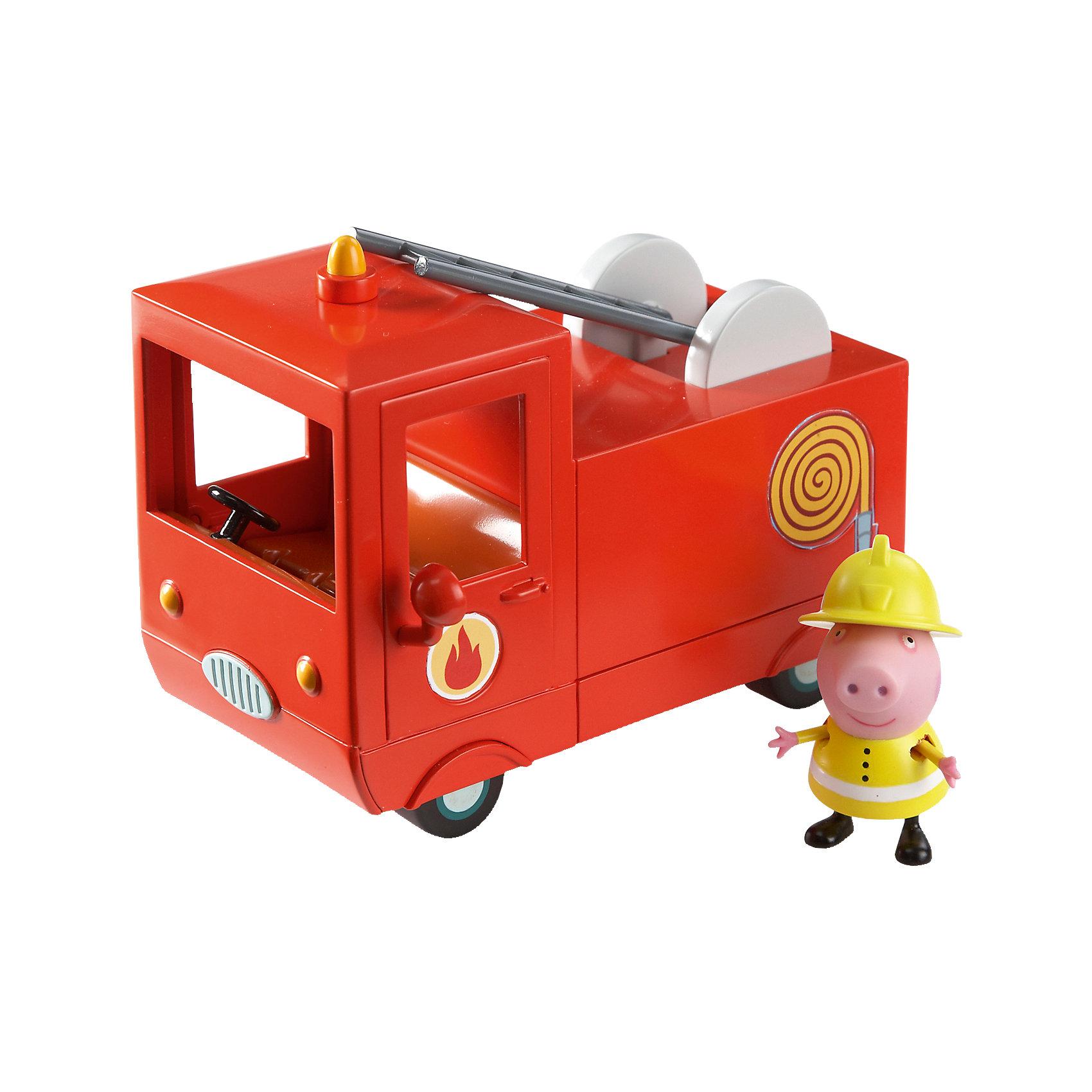 Пожарная машина Пеппы, Свинка ПеппаПопулярные игрушки<br>Свинка Пеппа спешит на помощь! В защитной форме и шлеме пожарника она отважно тушит огонь и спасает своих друзей. И все это благодаря ее пожарной машине – точно такой же, как и в мультфильме! В ней есть кабина с открывающимися дверками и углублениями на сидении для двух фигурок, подвижная пожарная лестница, декоративные зеркала и мигалка. С ней не страшен никакой пожар!&#13;<br><br>Дополнительная информация:<br><br>В игровом наборе «Пожарная машина Пеппы» ТМ «Peppa Pig» 2 предмета: красная пожарная машина размером 14х9,5х7см, фигурка Свинки Пеппы высотой 5,5 см с двигающимися ручками и ножками, которая может стоять и сидеть. Игрушки выполнены из высококачественного пластика и безопасны для детского использования. <br><br>Пожарную машину Пеппы, Свинка Пеппа можно купить в нашем магазине.<br><br>Ширина мм: 200<br>Глубина мм: 130<br>Высота мм: 140<br>Вес г: 368<br>Возраст от месяцев: 36<br>Возраст до месяцев: 72<br>Пол: Унисекс<br>Возраст: Детский<br>SKU: 4440527