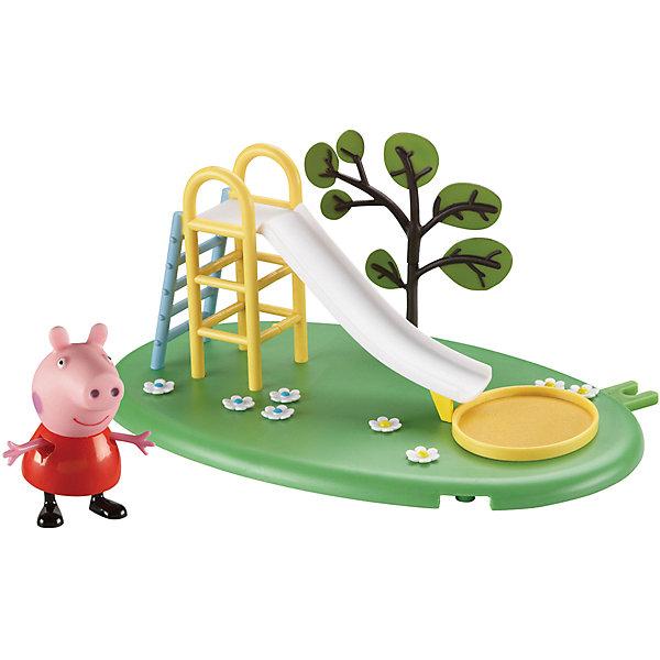 Игровая площадка Горка Пеппы, Свинка ПеппаИгровые наборы с фигурками<br>Свинка Пеппа отправляется гулять на зеленую цветочную лужайку. Там расположена горка с лесенкой, перед которой находится «песочница», чтобы Пеппа и ее друзья во время катания не ушиблись, а приземлялись в «мягкий песок». Рядом с горкой растет дерево. Снизу у игрушки имеются специальные приспособления, которые по типу пазлов позволяют скрепить все площадки из ассортимента. Из данной серии вы также можете выбрать следующие наборы: «Качели» или «Качели-качалка».<br><br>Дополнительная информация:<br><br>В наборе «Горка Пеппы» из серии «Игровая площадка Пеппы» 2 предмета: площадка с горкой, фигурка Пеппы (5 см), которая может стоять, сидеть, двигать ручками и ножками. Игрушки изготовлены из безопасного пластика. <br><br>Игровую площадку Горка Пеппы, Свинка Пеппа можно купить в нашем магазине.<br>Ширина мм: 275; Глубина мм: 160; Высота мм: 175; Вес г: 450; Возраст от месяцев: 36; Возраст до месяцев: 72; Пол: Унисекс; Возраст: Детский; SKU: 4440528;