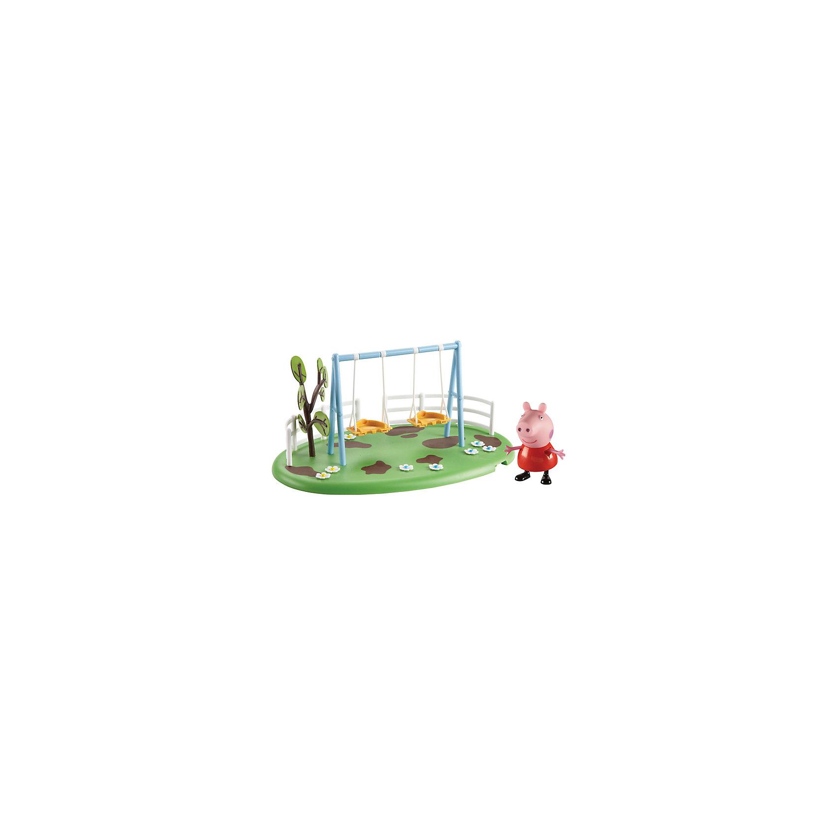 Игровая площадка Качели Пеппы, Свинка ПеппаСвинка Пеппа отправляется гулять на зеленую цветочную лужайку. На ней расположены две съемные качели со специальными дырочками на сидениях, в которых можно прочно зафиксировать ножки фигурок. Пеппа и ее друзья будут весело качаться, не боясь упасть. От одного несильного толчка качели могут сами раскачиваться в течение 10-15 секунд. Рядом с ними растет дерево, а вокруг видны небольшие «лужи» – Пеппа и ее друзья обожают прыгать по ним! Снизу у игрушки имеются специальные приспособления, которые по типу пазлов позволяют скрепить все площадки из ассортимента. Из данной серии вы также можете выбрать следующие наборы: «Качели-качалка», «Горка».<br><br><br>Дополнительная информация:<br><br>В наборе «Качели Пеппы» из серии «Игровая площадка Пеппы» 2 предмета: площадка с качелями и фигурка Свинки Пеппы (5 см), которая может стоять, сидеть, двигать ручками и ножками. Игрушки изготовлены из безопасного пластика. <br><br>Игровую площадку Качели Пеппы, Свинка Пеппа можно купить в нашем магазине.<br><br>Ширина мм: 275<br>Глубина мм: 175<br>Высота мм: 160<br>Вес г: 440<br>Возраст от месяцев: 36<br>Возраст до месяцев: 72<br>Пол: Унисекс<br>Возраст: Детский<br>SKU: 4440529