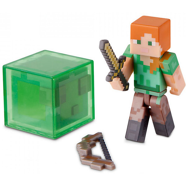 Фигурка Алекс с аксессуарами 8см, MinecraftИгрушки<br>Фигурка Алекс, Minecraft, станет отличным подарком для всех юных поклонников популярной компьютерной игры Майнкрафт. В этой знаменитой игре-песочнице Вам даётся условная свобода, позволяющая строить различные объекты, сражаться с монстрами и изучать новые миры. Игру отличает простая графика, картинка словно собрана из кубических блоков, напоминающих детский конструктор. Эту особенность в точности воспроизводит фигурка Алекс, стилизованная под скин женского персонажа из Minecraft. Руки и ноги фигурки подвижные. В комплект также входит оружие - меч и лук, и фигурка монстра в виде квадратного зеленого слизня. Игрушки и аксессуары Minecraft помогут Вашему ребенку строить и создавать мир любимой игры не только на компьютере, но и в реальном мире. <br><br>Дополнительная информация:<br><br>- Материал: пластик.<br>- Высота фигурки: 7 см.<br>- Размер упаковки: 7 х 12 х 15 см.  <br>- Вес: 82 гр. <br><br>Фигурку Алекс с аксессуарами, Minecraft, можно купить в нашем интернет-магазине.<br>Ширина мм: 70; Глубина мм: 120; Высота мм: 150; Вес г: 200; Возраст от месяцев: 72; Возраст до месяцев: 144; Пол: Мужской; Возраст: Детский; SKU: 4440924;