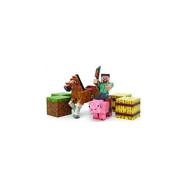 Набор фигурок с аксессуарами, MinecraftИгровые наборы с фигурками<br>Набор фигурок, Minecraft, станет отличным подарком для всех юных поклонников популярной компьютерной игры Майнкрафт. В этой знаменитой игре-песочнице Вам даётся условная свобода, позволяющая строить свой город, различные объекты, сражаться с монстрами и изучать новые миры. Игру отличает простая графика, картинка словно собрана из кубических блоков, напоминающих детский конструктор. В комплекте Вы найдете фигурки наездника Стива, лошадки и свинки, стилизованные под персонажей игры. У человечка подвижные руки и ноги, у зверюшек двигаются ноги. На свинке и лошади есть седла, куда можно посадить фигурку Стива. В набор также входя аксессуары - хлыст, два блока сена и два блока травы. Игрушки и аксессуары Minecraft помогут Вашему ребенку строить и создавать мир любимой игры не только на компьютере, но и в реальном мире. <br><br><br>Дополнительная информация:<br><br>- В комплекте: 3 фигурки (наездник, лошадка, свинка), аксессуары (хлыст, 2 блока сена, 2 блока травы).<br>- Материал: пластик.<br>- Высота фигурки: 8 см.<br>- Размер упаковки: 32 x 14,5 x 9,1 см.  <br>- Вес: 0,3 кг. <br><br>Набор фигурок с аксессуарами, Minecraft, можно купить в нашем интернет-магазине.<br><br>Ширина мм: 150<br>Глубина мм: 350<br>Высота мм: 150<br>Вес г: 300<br>Возраст от месяцев: 72<br>Возраст до месяцев: 144<br>Пол: Мужской<br>Возраст: Детский<br>SKU: 4440925