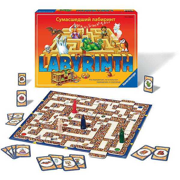 Настольная игра Сумасшедший Лабиринт, RavensburgerНастольные игры ходилки<br>Сумасшедший Лабиринт, Ravensburger - увлекательная настольная игра, в которую можно играть всей семьей. В игре участвуют от 2 до 4 игроков, задача каждого - найти на игровом поле свои сокровища, которые обозначены карточками заданий. Побеждает первый собравший все необходимое. Перед началом игры каждый участник выбирает себе фишку и ставит ее на стартовую позицию в один из углов поля. Карточки с сокровищами делятся поровну между игроками и кладутся рубашкой вверх. Во время своего хода участник открывает верхнюю карточку и смотрит, что на ней нарисовано. Теперь ему нужно побыстрее добраться до указанного на карточке сокровища, чтобы получить его и сделать первый шаг к победе. Игровое поле в виде таинственного лабиринта собирается из картонных квадратов, которые каждый участник передвигает таким образом, чтобы путь к сокровищу был как можно короче. Игра развивает логическое мышление, пространственное воображение и быстроту реакции.<br><br>Дополнительная информация:<br><br>- В комплекте: игровое поле, 34 карточки с изображением ходов лабиринта, 24 секретные карточки, 4 игровых фишки, инструкция.<br>- Материал: пластик, картон.<br>- Размер упаковки: 34 х 23 х 6 см.  <br>- Вес: 1,018 кг. <br><br>Настольную игру Сумасшедший Лабиринт, Ravensburger, можно купить в нашем интернет-магазине.<br><br>Ширина мм: 340<br>Глубина мм: 60<br>Высота мм: 230<br>Вес г: 1018<br>Возраст от месяцев: 60<br>Возраст до месяцев: 108<br>Пол: Унисекс<br>Возраст: Детский<br>SKU: 4441618