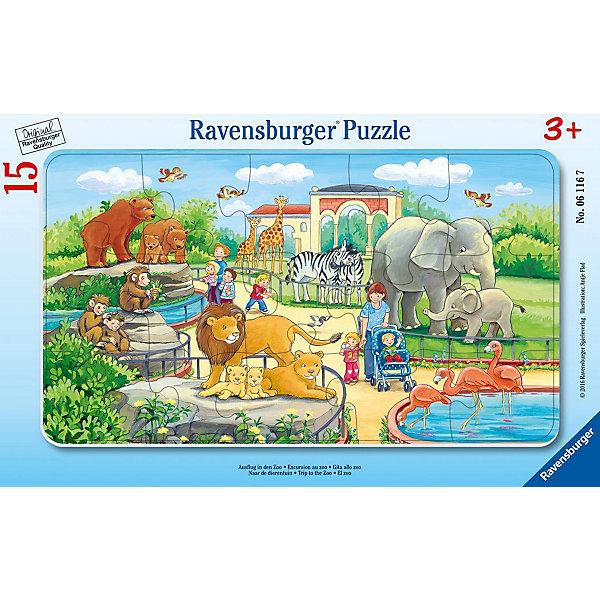 Пазл «Прогулка по зоопарку», 15 деталей, RavensburgerПазлы для малышей<br>Яркая картинка, состоящая из 15 элементов, напечатана на картоне высочайшего качества. Собирать такую головоломку приятно и достаточно легко, ведь изображенные на рисунке животные крупные и хорошо узнаваемы. Здесь есть зебры, жирафы, фламинго, львы и много других зверушек, которые так нравятся детям. Пазл принесёт вашему ребёнку положительные эмоции. А так же малыш научится различать животных, что расширит его знания. <br><br>В товар входит:<br>-15 деталей <br><br>Дополнительная информация<br>- Размер картинки :  25*14,5 см <br>-Размер упаковки : 30*19*5 см<br>-Возраст: от 3 лет<br>-Для мальчиков и девочек<br>-Состав: картон<br>-Бренд: Ravensburger (Равенсбургер)<br>-Страна обладатель бренда: Германия<br>Ширина мм: 299; Глубина мм: 190; Высота мм: 7; Вес г: 155; Возраст от месяцев: 36; Возраст до месяцев: 60; Пол: Унисекс; Возраст: Детский; Количество деталей: 15; SKU: 4441671;