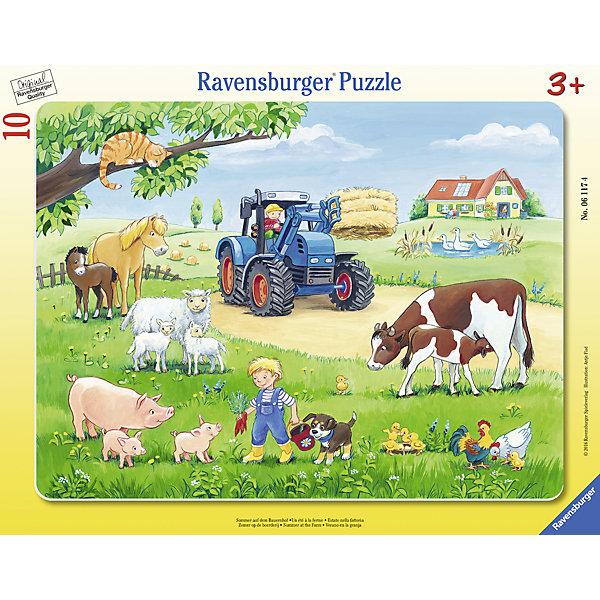 Пазл «Лето в деревне», 10 деталей, RavensburgerПазлы для малышей<br>Пазл «Лето в деревне», 10 деталей, Ravensburger (Равенсбургер).<br><br>Характеристика:<br><br>• Материал: картон. <br>• Размер упаковки: 37,3х<br>23,3х5 см. <br>• Размер готовой картинки: 32,5х24,5 см. <br>• Количество деталей: 10.<br><br>Дети обожают собирать пазлы. Это очень интересное и полезное занятие, которое поможет ребенку развить мелкую моторику, внимание, цветовосприятие, усидчивость и образное мышление. Получившаяся яркая картинка станет прекрасным украшением комнаты или же отличным подарком, сделанным своими руками. <br><br>Пазл «Лето в деревне», 10 деталей, Ravensburger (Равенсбургер), можно купить в нашем интернет-магазине.<br>Ширина мм: 376; Глубина мм: 292; Высота мм: 10; Вес г: 293; Возраст от месяцев: 36; Возраст до месяцев: 60; Пол: Унисекс; Возраст: Детский; Количество деталей: 10; SKU: 4441673;