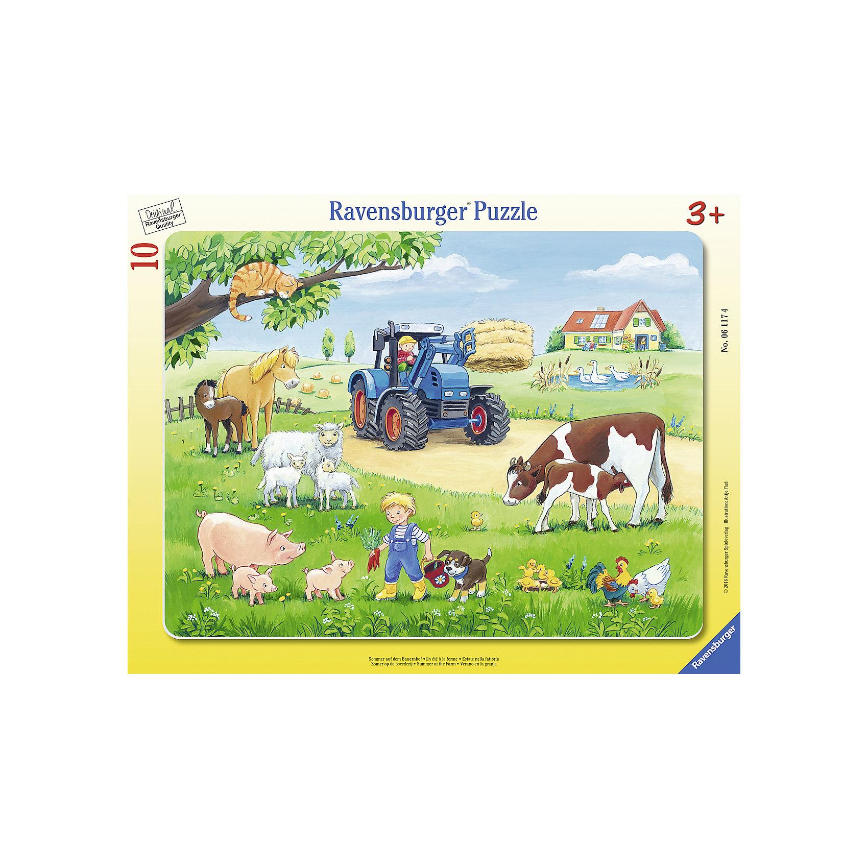Пазл «Лето в деревне», 10 деталей, RavensburgerПазлы для малышей<br>Пазл «Лето в деревне», 10 деталей, Ravensburger (Равенсбургер).<br><br>Характеристика:<br><br>• Материал: картон. <br>• Размер упаковки: 37,3х<br>23,3х5 см. <br>• Размер готовой картинки: 32,5х24,5 см. <br>• Количество деталей: 10.<br><br>Дети обожают собирать пазлы. Это очень интересное и полезное занятие, которое поможет ребенку развить мелкую моторику, внимание, цветовосприятие, усидчивость и образное мышление. Получившаяся яркая картинка станет прекрасным украшением комнаты или же отличным подарком, сделанным своими руками. <br><br>Пазл «Лето в деревне», 10 деталей, Ravensburger (Равенсбургер), можно купить в нашем интернет-магазине.<br><br>Ширина мм: 376<br>Глубина мм: 292<br>Высота мм: 10<br>Вес г: 293<br>Возраст от месяцев: 36<br>Возраст до месяцев: 60<br>Пол: Унисекс<br>Возраст: Детский<br>Количество деталей: 10<br>SKU: 4441673