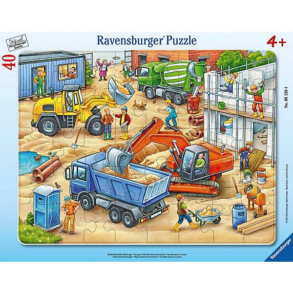 Пазл Большие строительные машины, 40 деталей, RavensburgerПазлы для малышей<br>Пазл из качественного картона показывает целый сюжет на одной картинке. Основной упор сделан на большие машины, которые участвуют в строительстве, наглядно показывая, зачем нужна конкретная машина. Тут можно увидеть бетономешалку, два вида экскаватора и самосвал. На строительной площадке можно увидеть целую команду рабочих, а также собачку, случайно забежавшую на стройку в погоне за бабочкой. Собирая пазл, развивается логика и моторика рук. А так же малыш познает систему строительства дома.<br><br>В товар входит:<br>-40 деталей <br><br>Дополнительная информация<br>- Размер картинки :  32,5*24,5 см <br>-Размер упаковки : 36,8*28,4*0,6 см<br>-Возраст: от 4 до 6 лет<br>-Для мальчиков <br>-Состав: картон<br>-Бренд: Ravensburger (Равенсбургер)<br>-Страна обладатель бренда: Германия<br>Ширина мм: 376; Глубина мм: 294; Высота мм: 7; Вес г: 303; Возраст от месяцев: 48; Возраст до месяцев: 72; Пол: Мужской; Возраст: Детский; Количество деталей: 40; SKU: 4441676;