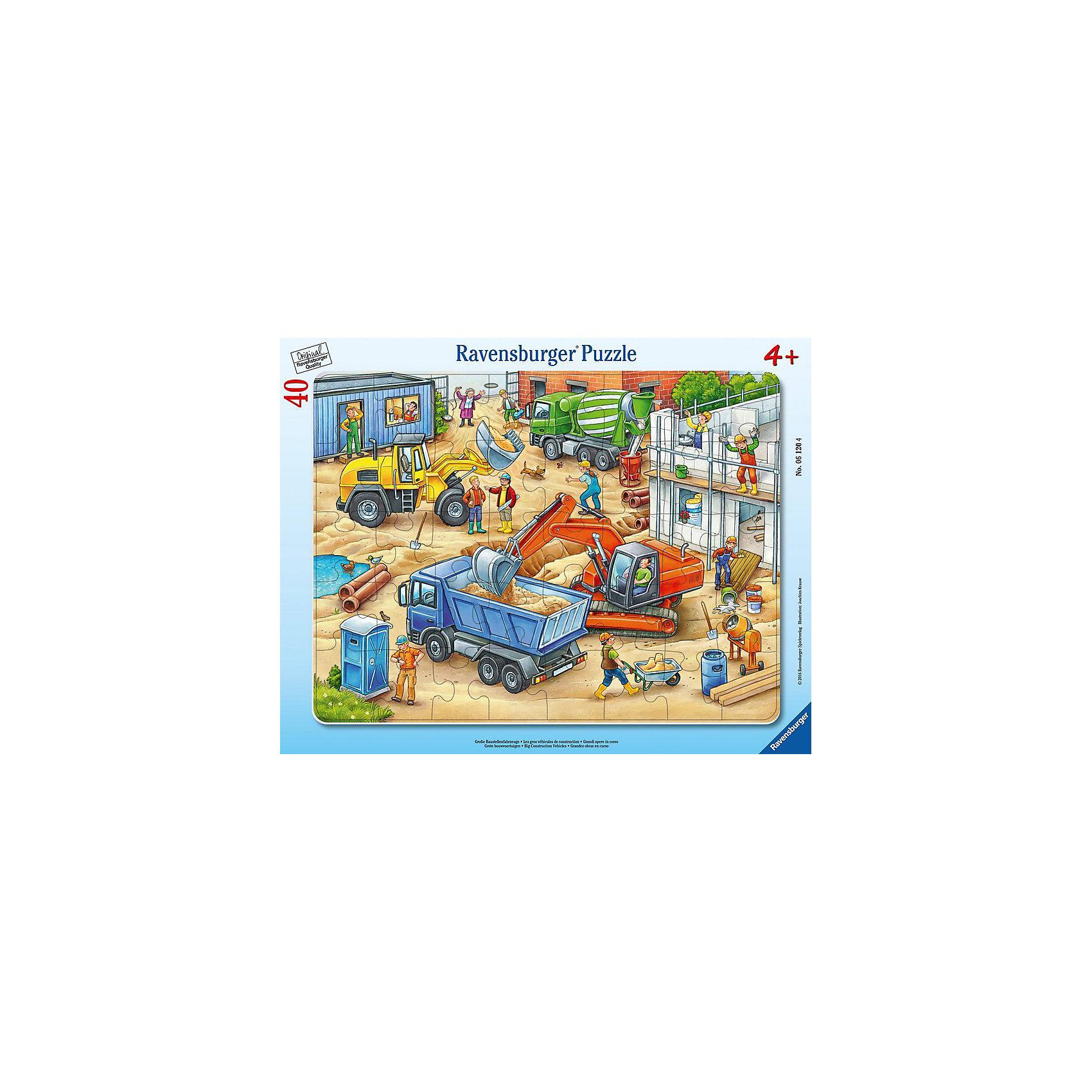 Пазл Большие строительные машины, 40 деталей, RavensburgerПазл из качественного картона показывает целый сюжет на одной картинке. Основной упор сделан на большие машины, которые участвуют в строительстве, наглядно показывая, зачем нужна конкретная машина. Тут можно увидеть бетономешалку, два вида экскаватора и самосвал. На строительной площадке можно увидеть целую команду рабочих, а также собачку, случайно забежавшую на стройку в погоне за бабочкой. Собирая пазл, развивается логика и моторика рук. А так же малыш познает систему строительства дома.<br><br>В товар входит:<br>-40 деталей <br><br>Дополнительная информация<br>- Размер картинки :  32,5*24,5 см <br>-Размер упаковки : 36,8*28,4*0,6 см<br>-Возраст: от 4 до 6 лет<br>-Для мальчиков <br>-Состав: картон<br>-Бренд: Ravensburger (Равенсбургер)<br>-Страна обладатель бренда: Германия<br><br>Ширина мм: 376<br>Глубина мм: 294<br>Высота мм: 7<br>Вес г: 303<br>Возраст от месяцев: 48<br>Возраст до месяцев: 72<br>Пол: Мужской<br>Возраст: Детский<br>Количество деталей: 40<br>SKU: 4441676
