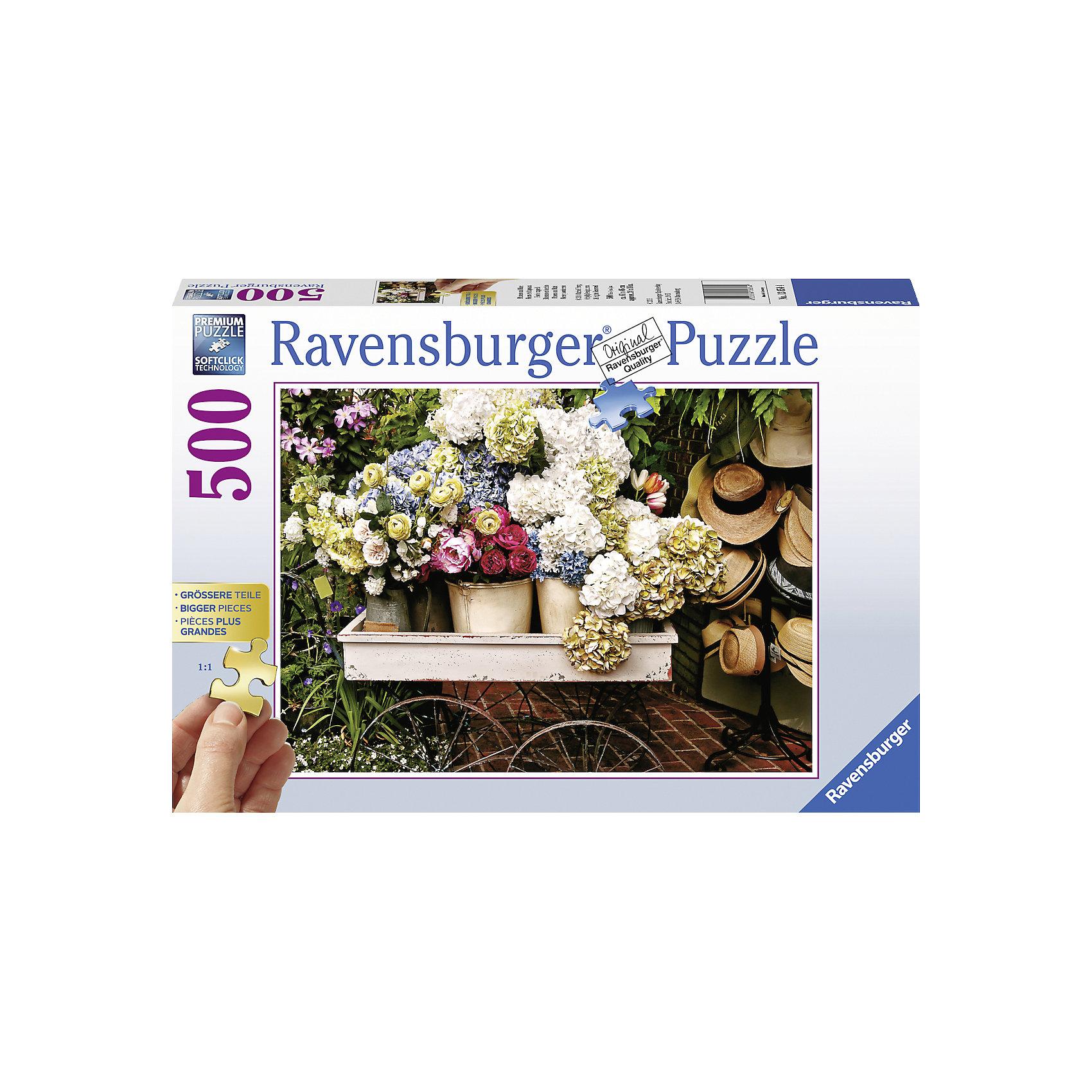 Пазл Цветы и шляпы, 500 деталей, RavensburgerПазлы для детей постарше<br>Пазл Цветы и шляпы, 500 деталей, Ravensburger (Равенсбургер) – это качественный пазл с яркими красками и реалистичной картинкой.<br>Собрав Пазл «Цветы и шляпы» Ravensburger (Равенсбургер) из 500 деталей Вы получите картину, на которой изображена тележка с букетами восхитительных цветов, а сбоку на вешалке висят соломенные шляпки. Картинка выглядит довольно реалистично, глядя на нее, кажется, что попадаешь на красочную распродажу. Процесс сборки пазла снимает стресс и способствует развитию логического мышления. Пазлы Ravensburger (Равенсбургер) - это высочайшее качество картона и полиграфии. Детали пазла не ломаются, не подвергаются деформации при сборке. Элементы пазла идеально соединяются друг с другом, не отслаиваются с течением времени. Матовая поверхность исключает отблески. Для сохранения в собранном виде можно использовать скотч или специальный клей для пазлов (в комплект не входит).<br><br>Дополнительная информация:<br><br>- Количество деталей: 500<br>- Размер готовой картинки: 61 x 46 см.<br>- Материал: прочный, качественный картон<br>- Размер упаковки: 34 x 23 x 6 см.<br><br>Пазл Цветы и шляпы, 500 деталей, Ravensburger (Равенсбургер) можно купить в нашем интернет-магазине.<br><br>Ширина мм: 336<br>Глубина мм: 233<br>Высота мм: 39<br>Вес г: 514<br>Возраст от месяцев: 108<br>Возраст до месяцев: 228<br>Пол: Унисекс<br>Возраст: Детский<br>Количество деталей: 500<br>SKU: 4441712