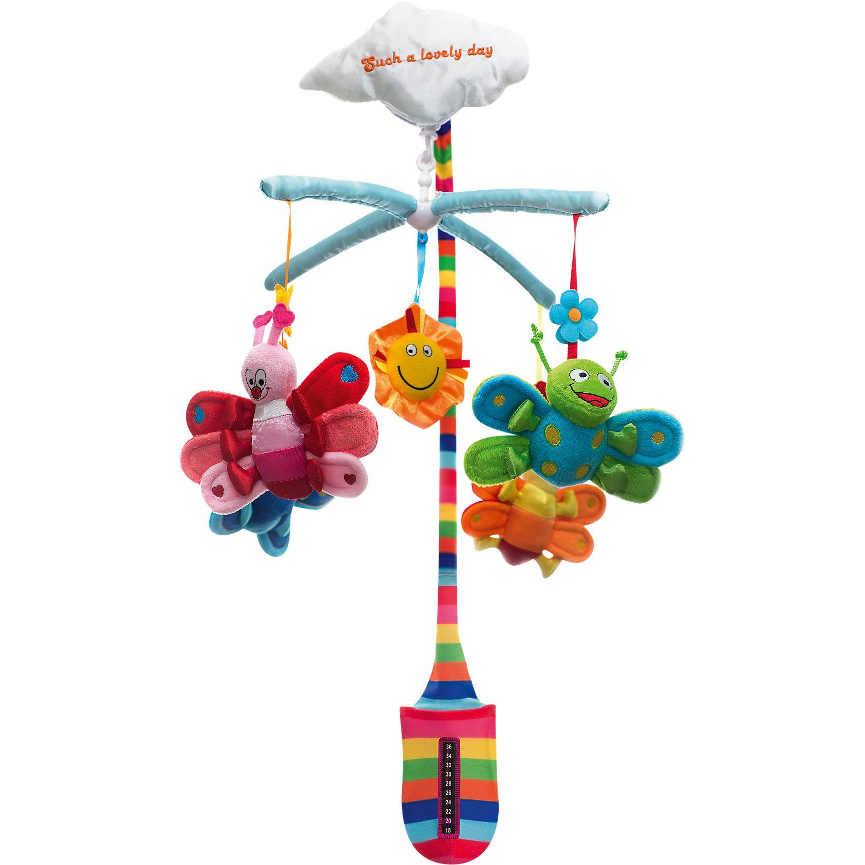 Мобиль Бабочки,  WeeWiseРазвивающая игрушка- мобиль  для детской кроватки. Разноцветные фигурки закрепленные на дужках, поскольку они «смотрят» прямо на ребенка то  создают эффект зрительного контакта. Все  элементы имеют приятную на ощупь бархатистую поверхность . При вращении дужек с игрушками воспроизводится спокойная классическая мелодия. <br>Функционирование осуществляется  по принципу заводной  механической игрушки, ключ встроен. Способствует тренировке слухового и зрительного восприятия.<br>Развивает внимание<br>Помогает фокусировки взгляда<br>Стимулирует зрительное восприятие<br>Развивает координацию движений<br>Расслабляет и успокаивает.<br><br>Ширина мм: 565<br>Глубина мм: 365<br>Высота мм: 345<br>Вес г: 763<br>Возраст от месяцев: 0<br>Возраст до месяцев: 8<br>Пол: Унисекс<br>Возраст: Детский<br>SKU: 4443035