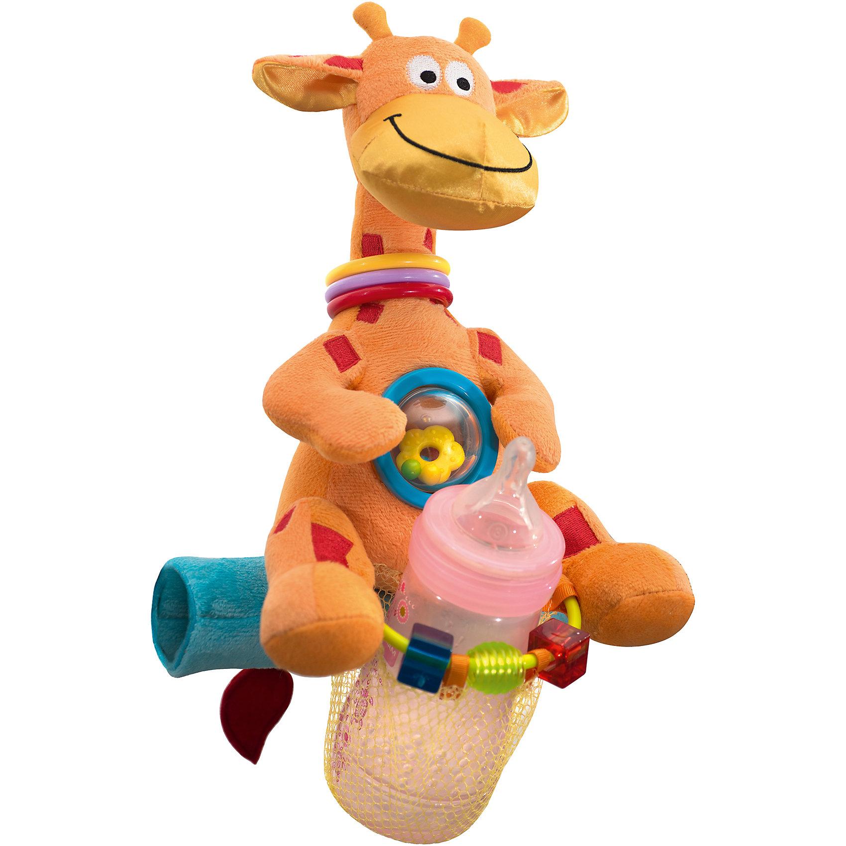 Мультиигрушка для коляски Жираф,  WeeWiseПодвески<br>Мультиигрушка легко устанавливается на большинстве прогулочных детских колясок. Специальный фиксатор позволяет разместить на ней  детскую бутылочку , мультиигрушка снабжена  различными погремушками и  фигурками. Мультиигрушка способствует развитию зрительного, слухового и тактильного восприятия ребенка, а также тренирует мелкую моторику<br><br>Ширина мм: 440<br>Глубина мм: 225<br>Высота мм: 330<br>Вес г: 278<br>Возраст от месяцев: 6<br>Возраст до месяцев: 8<br>Пол: Унисекс<br>Возраст: Детский<br>SKU: 4443042
