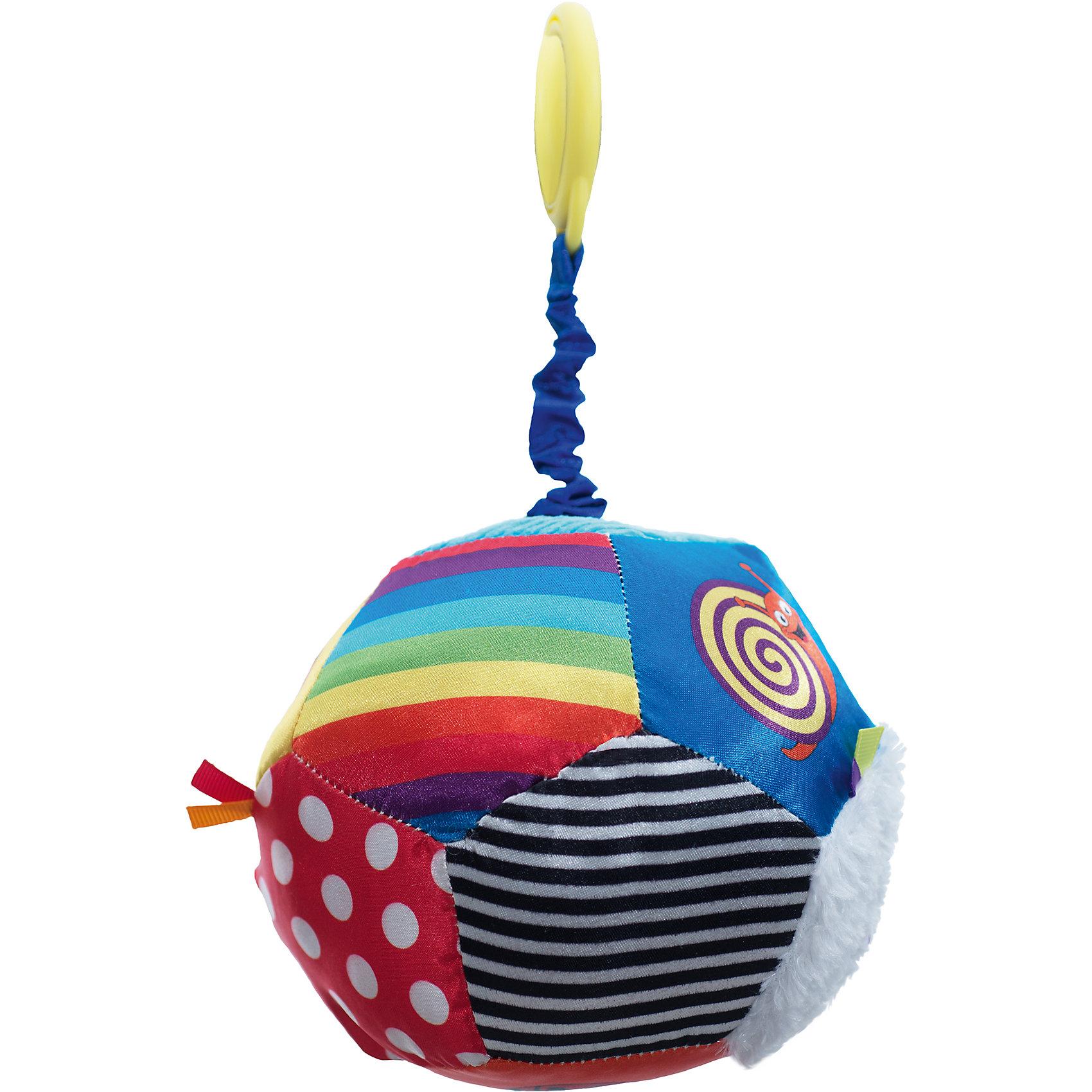 Мяч Открытие,  WeeWiseИгрушка крепится к козырьку –тенту прогулочной коляски или к ручке  детского  автокресла  категории 0+.  Поверхность мяча выполнена из материалов различного цвета и фактуры. Игрушка снабжена пружинным вибрирующим механизмом, способствует развитию зрительного, слухового и тактильного восприятия. Стимулирует хватательные навыки ребенка, помогает тренировке мелкой моторики рук.<br><br>Ширина мм: 505<br>Глубина мм: 185<br>Высота мм: 245<br>Вес г: 148<br>Возраст от месяцев: 3<br>Возраст до месяцев: 8<br>Пол: Унисекс<br>Возраст: Детский<br>SKU: 4443044