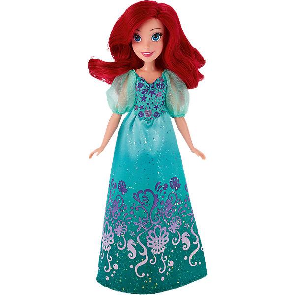 Кукла Ариэль, Принцессы ДиснейПринцессы Игрушки<br>Кукла Ариэль, Принцессы Дисней, станет прекрасным подарком для всех маленьких поклонниц диснеевских сказок. Кукла очень похожа на свою героиню из популярного мультфильма Русалочка. У нее длинные ярко-красные волосы, которые можно причесывать и укладывать в различные прически, и красивое веселое личико. На Ариэль надето роскошное платье в зеленых тонах, украшенное блестками и изысканными узорами на морскую тематику. Наряд дополняют полупрозрачные зеленые туфельки в тон платья. У куклы подвижные руки, ноги и голова, что позволяет придавать ей реалистичные позы. Очаровательная кукла прекрасно дополнит коллекцию диснеевских принцесс.<br><br>Дополнительная информация:<br><br>- Материал: пластик, текстиль.<br>- Высота куклы: 28 см.<br>- Размер упаковки: 15 x 5 x 36 см.<br>- Вес: 0,31 кг.<br><br>Куклу Ариэль, Принцессы Дисней, можно купить в нашем интернет-магазине.<br><br>Ширина мм: 324<br>Глубина мм: 149<br>Высота мм: 53<br>Вес г: 170<br>Возраст от месяцев: 36<br>Возраст до месяцев: 72<br>Пол: Женский<br>Возраст: Детский<br>SKU: 4443703