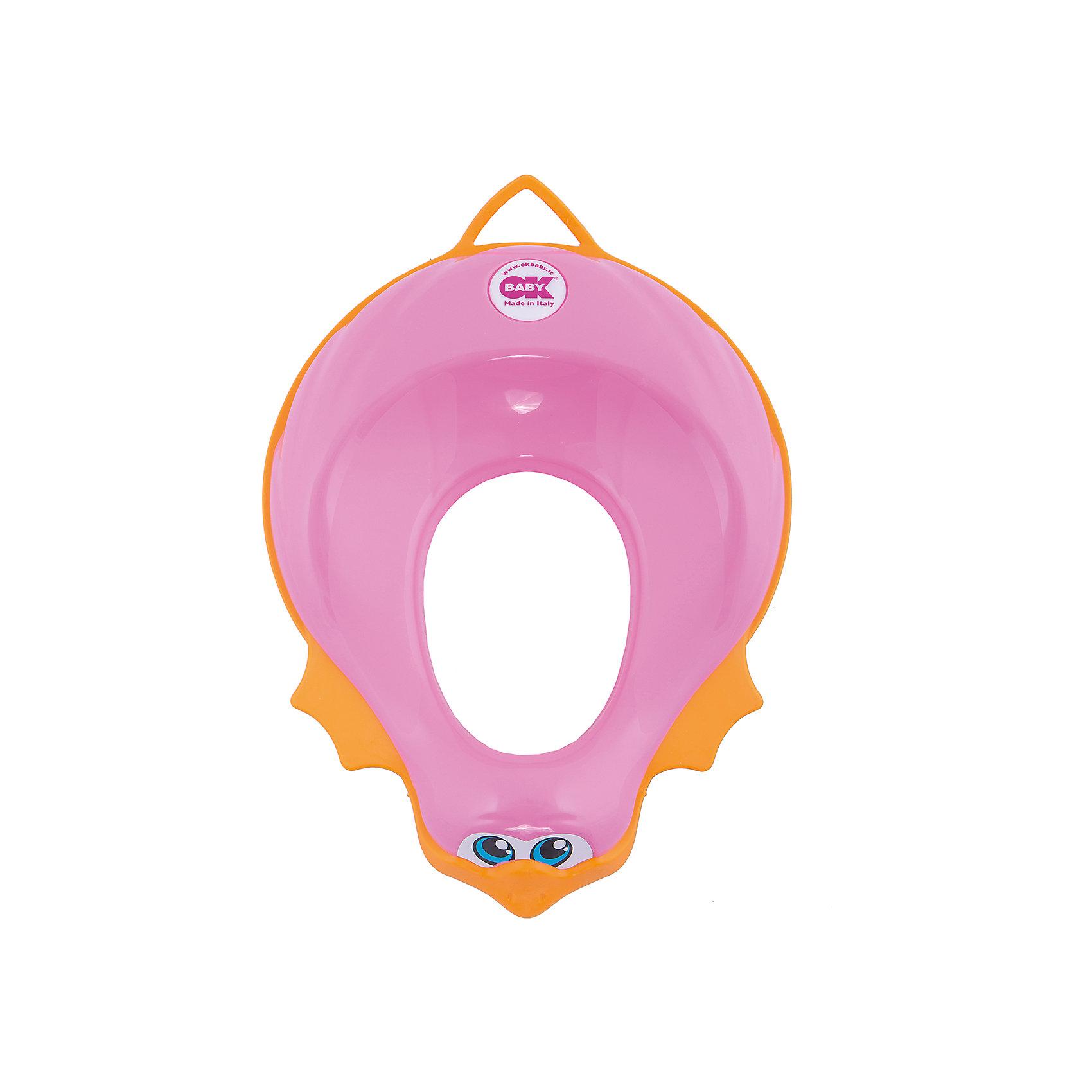 Накладка на унитаз, Ducka, Ok Baby, розовыйГоршки, сиденья для унитаза, стульчики-подставки<br>Накладка на унитаз выполнена из высококачественных материалов, имеет привлекательный дизайн и яркий цвет. Сиденье обязательно понравится ребенку и поможет быстро приучить кроху к унитазу. Поверхность, выполненная из мягкой резины, не позволит накладке соскользнуть или изменить свое положение в то время, когда ребенок сидит на ней, обеспечит безопасность и комфорт. <br><br>Дополнительная информация:<br><br>- Материал: пластик, резина.<br>- Размер: 32,5х9,5х41 см.<br>- Анатомическая форма. <br>- Подходит для унитазов разных форм и размеров. <br>- Яркий, привлекательный дизайн. <br><br>Накладку на унитаз, Ducka, Ok Baby, розовую, можно купить в нашем магазине.<br><br>Ширина мм: 950<br>Глубина мм: 410<br>Высота мм: 325<br>Вес г: 800<br>Возраст от месяцев: 12<br>Возраст до месяцев: 48<br>Пол: Унисекс<br>Возраст: Детский<br>SKU: 4443718