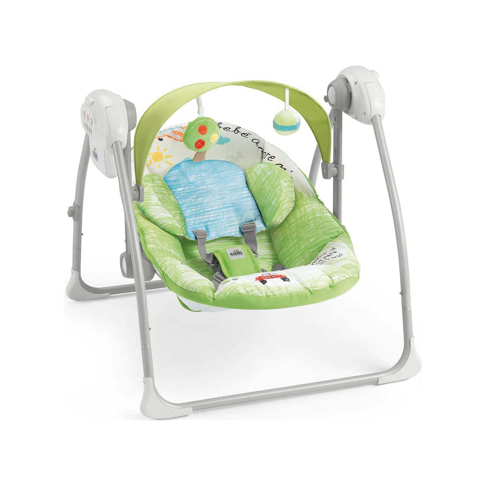 Качели-шезлонг Sonnolento, CAM, Bebe amore mioКачели-шезлонг подходят для детей  с самого рождения. Модель имеет удобную спинку с 5 положениями, мягкое сиденье и мягкий подголовник для еще большего комфорта малыша. Летний козырек от солнца с двумя съёмными игрушками, регулируется по высоте в 2-х положениях. Пятиточечные страховочные ремни обеспечат безопасность крохи.  Очень легкая и компактная модель быстро складывается и раскладывается, занимает мало места при хранении и транспортировке.  Три скорости качания, 5 колыбельных мелодий и 3 различных варианта звуков природы успокоят малыша, настроив его на комфортный отдых. Шезлонг изготовлен из прочных, высококачественных материалов, безопасен для детей. <br><br>Дополнительная информация:<br><br>-Размеры в разложенном виде: 61,5 x 64 x 58 см. <br>- Размеры в сложенном виде: 61,5 x 26 x 63 см. <br>- Вес: 4 кг.<br>- Максимальный вес ребенка: 9 кг. <br>- Материал: пластик, металл, текстиль. <br>- Регулировка козырька в 2 положениях.<br>- 2 мягкие игрушки. <br>- Мягкое сиденье и подголовник.<br>- Регулируемая в 5 положениях спинка.<br>- 5 колыбельных мелодий, 3 вариации звуков природы. <br>- 3 скорости качания.<br>- Таймер с автоматическим выключением (8-15-30 мин).<br>- Регулировка громкости.<br>- Ножки с нескользящими резиновыми вставками<br>- Если заблокировать сиденье, можно использовать как колыбель.<br>- Съемный чехол (возможна машинная стирка при 30?). <br>- Питание от батареек (4 батареи - 1,5 вольт, не входят в комплект) <br><br>Качели-шезлонг Sonnolento, CAM, Bebe amore mio можно купить в нашем магазине.<br><br>Ширина мм: 440<br>Глубина мм: 415<br>Высота мм: 640<br>Вес г: 5200<br>Цвет: зеленый<br>Возраст от месяцев: 0<br>Возраст до месяцев: 72<br>Пол: Унисекс<br>Возраст: Детский<br>SKU: 4443745