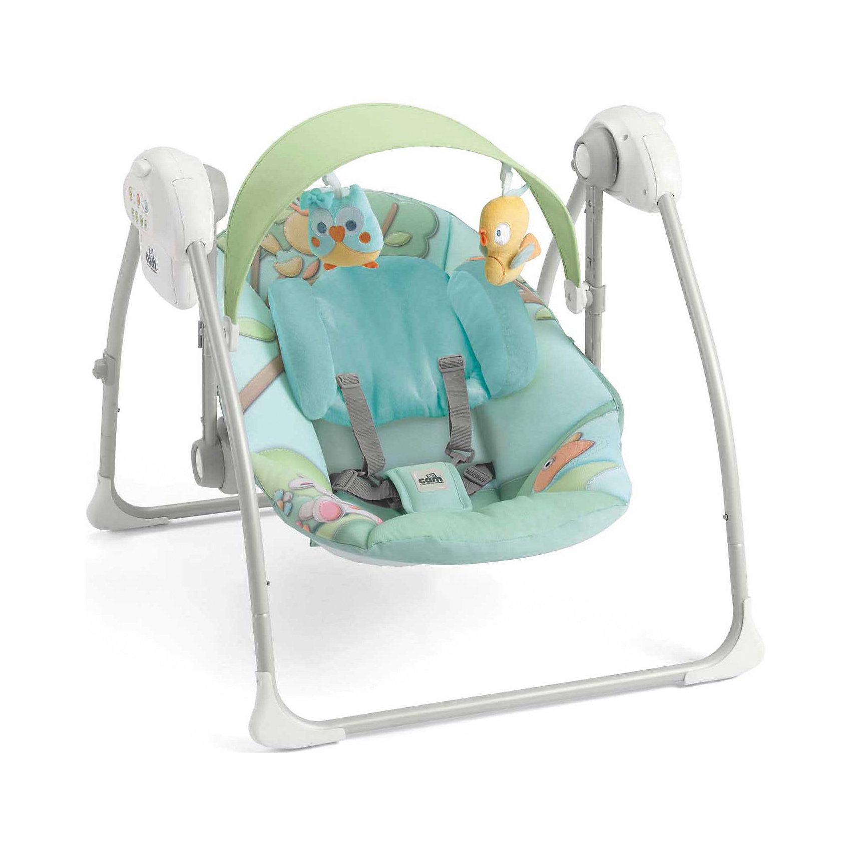 Качели-шезлонг Sonnolento Совы, CAM, голубойКачели электронные<br>Качели-шезлонг подходят для детей с самого рождения. Модель имеет удобную спинку с 5 положениями, мягкое сиденье и мягкий подголовник для еще большего комфорта малыша. Летний козырек от солнца с двумя съёмными игрушками, регулируется по высоте в 2-х положениях. Пятиточечные страховочные ремни обеспечат безопасность крохи.  Очень легкая и компактная модель быстро складывается и раскладывается, занимает мало места при хранении и транспортировке.  Три скорости качания, 5 колыбельных мелодий и 3 различных варианта звуков природы успокоят малыша, настроив его на комфортный отдых. Шезлонг изготовлен из прочных, высококачественных материалов, безопасен для детей. <br><br>Дополнительная информация:<br><br>-Размеры в разложенном виде: 61,5 x 64 x 58 см. <br>- Размеры в сложенном виде: 61,5 x 26 x 63 см. <br>- Вес: 4 кг.<br>- Максимальный вес ребенка: 9 кг. <br>- Материал: пластик, металл, текстиль. <br>- Регулировка козырька в 2 положениях.<br>- 2 мягкие игрушки. <br>- Мягкое сиденье и подголовник.<br>- Регулируемая в 5 положениях спинка.<br>- 5 колыбельных мелодий, 3 вариации звуков природы. <br>- 3 скорости качания.<br>- Таймер с автоматическим выключением (8-15-30 мин).<br>- Регулировка громкости.<br>- Ножки с нескользящими резиновыми вставками<br>- Если заблокировать сиденье, можно использовать как колыбель.<br>- Съемный чехол (возможна машинная стирка при 30?). <br>- Питание от батареек (4 батареи - 1,5 вольт, не входят в комплект) или от сети.<br><br>Качели-шезлонг Sonnolento Совы, CAM, голубые, можно купить в нашем магазине.<br><br>Ширина мм: 440<br>Глубина мм: 415<br>Высота мм: 640<br>Вес г: 5200<br>Цвет: голубой<br>Возраст от месяцев: 0<br>Возраст до месяцев: 72<br>Пол: Унисекс<br>Возраст: Детский<br>SKU: 4443746