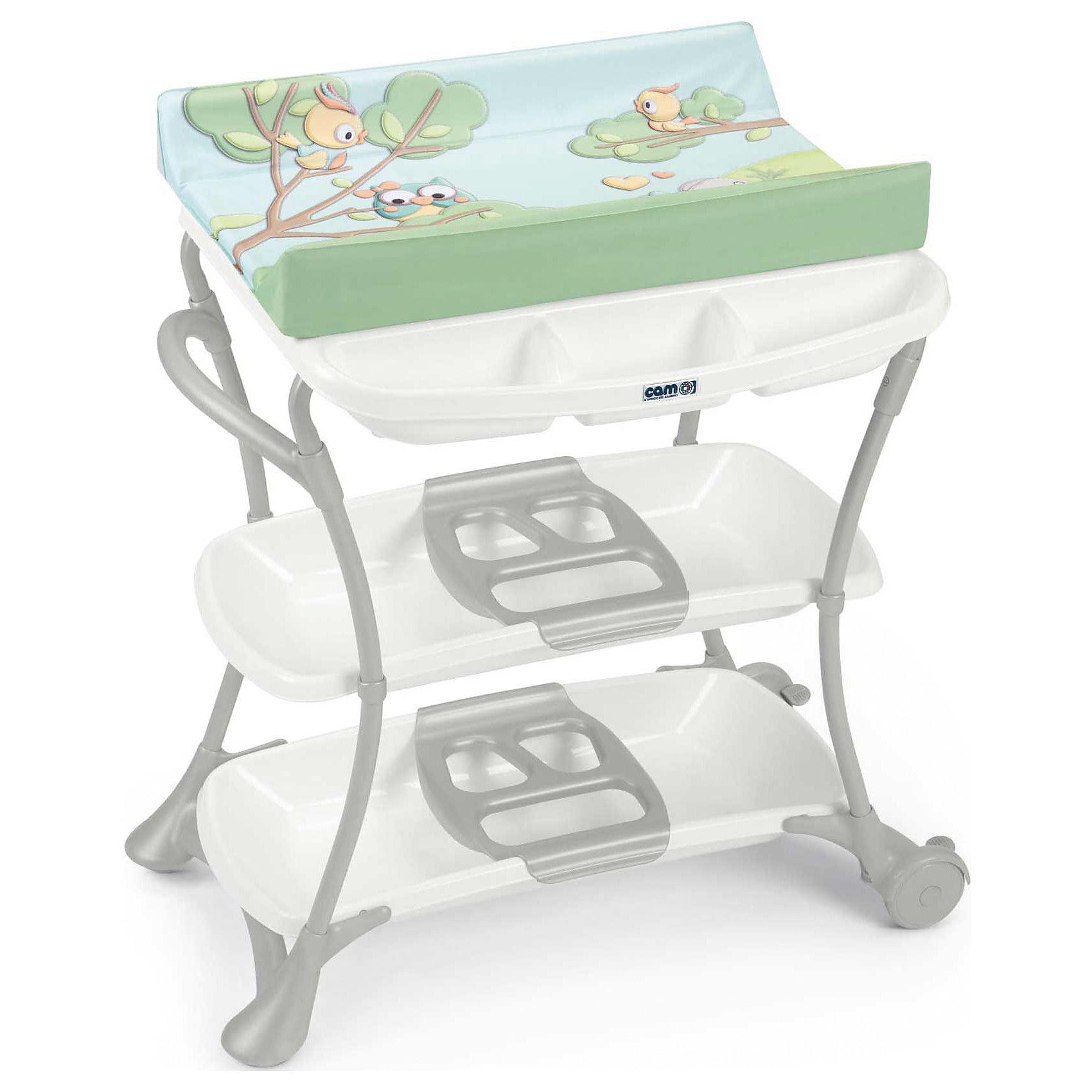 Пеленальный столик с ванночкой Nuvola Совы, CAM, голубой