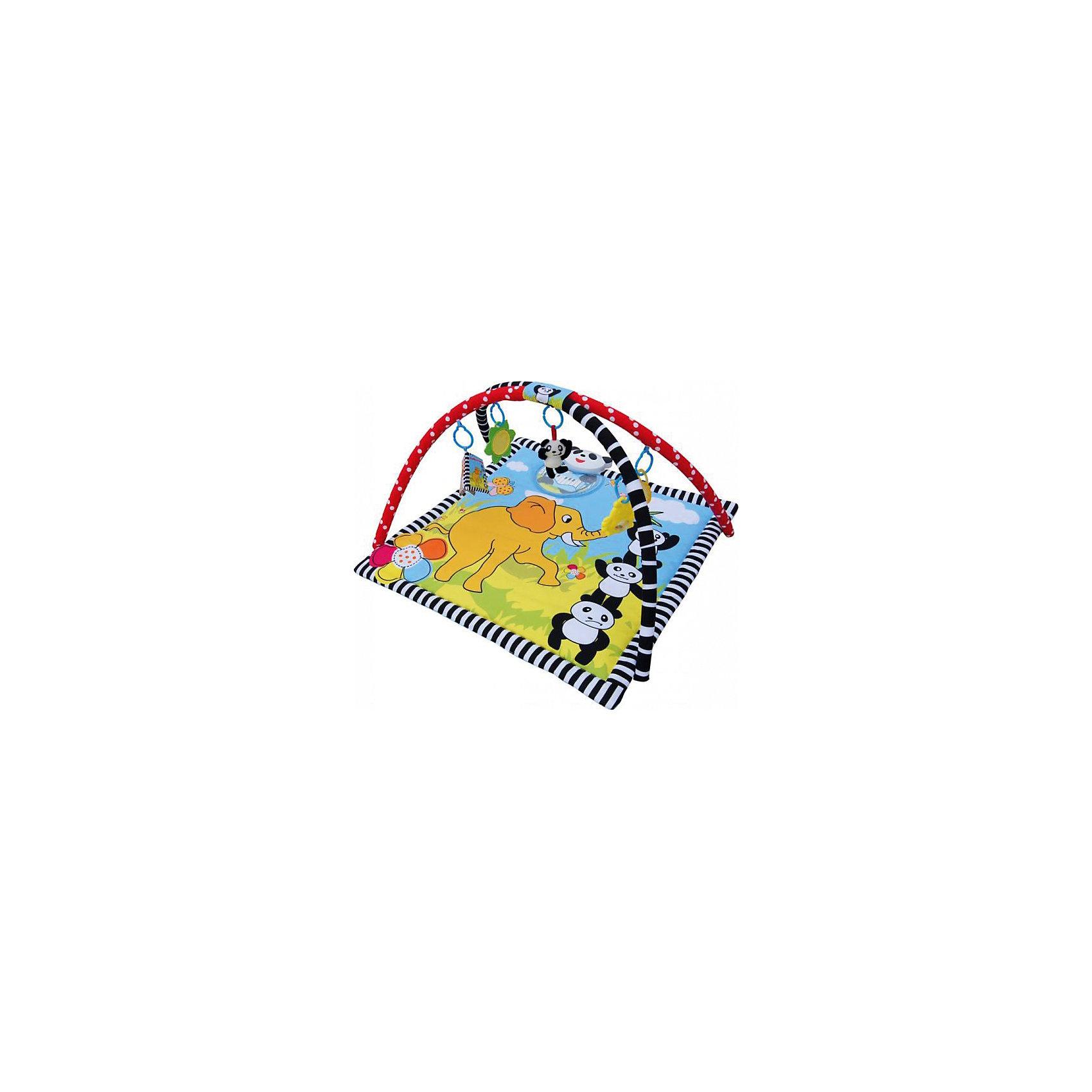 Развивающий коврик Панда в раю, LaDiDa, жёлтый/голубойИгрушки для малышей<br>Яркий развивающий коврик обязательно привлечет внимание малышей, надолго их заинтересует и поможет развить моторику, хватательный рефлекс и цветовосприятие. Коврик имеет две дуги, на которых расположены очаровательные игрушки. Подвески выполнены из материалов различных фактур, благодаря чему ваш кроха сможет развить тактильные ощущения, играя с ними. Коврик оснащен встроенной музыкальной шкатулкой с клавиатурой (7 нот), носик панды является кнопкой включения музыки, кроме того, глаза подвесного мишки мигают огоньками. Коврик выполнен из высококачественных материалов, в производстве изделия использованы только качественные безопасные для детей красители. Коврик компактно складывается, удобен в хранении и транспортировке.<br><br>Дополнительная информация:<br><br>- Материал: пластик, текстиль.<br>- Комплектация: коврик с двумя дугами, 5 подвесок (плюшевая погремушка-панда, пластиковая погремушка-цыпленок, мягкая книжка, зеркальце, прорезыватель).<br>- Размер: 87x87x50 см.<br>- Музыкальный модуль.<br>- Огоньки. <br>- Легко стирается. <br><br>Развивающий коврик Панда в раю, LaDiDa, жёлтый/голубой, можно купить в нашем магазине.<br><br>Ширина мм: 575<br>Глубина мм: 500<br>Высота мм: 75<br>Вес г: 800<br>Возраст от месяцев: 0<br>Возраст до месяцев: 36<br>Пол: Унисекс<br>Возраст: Детский<br>SKU: 4443756