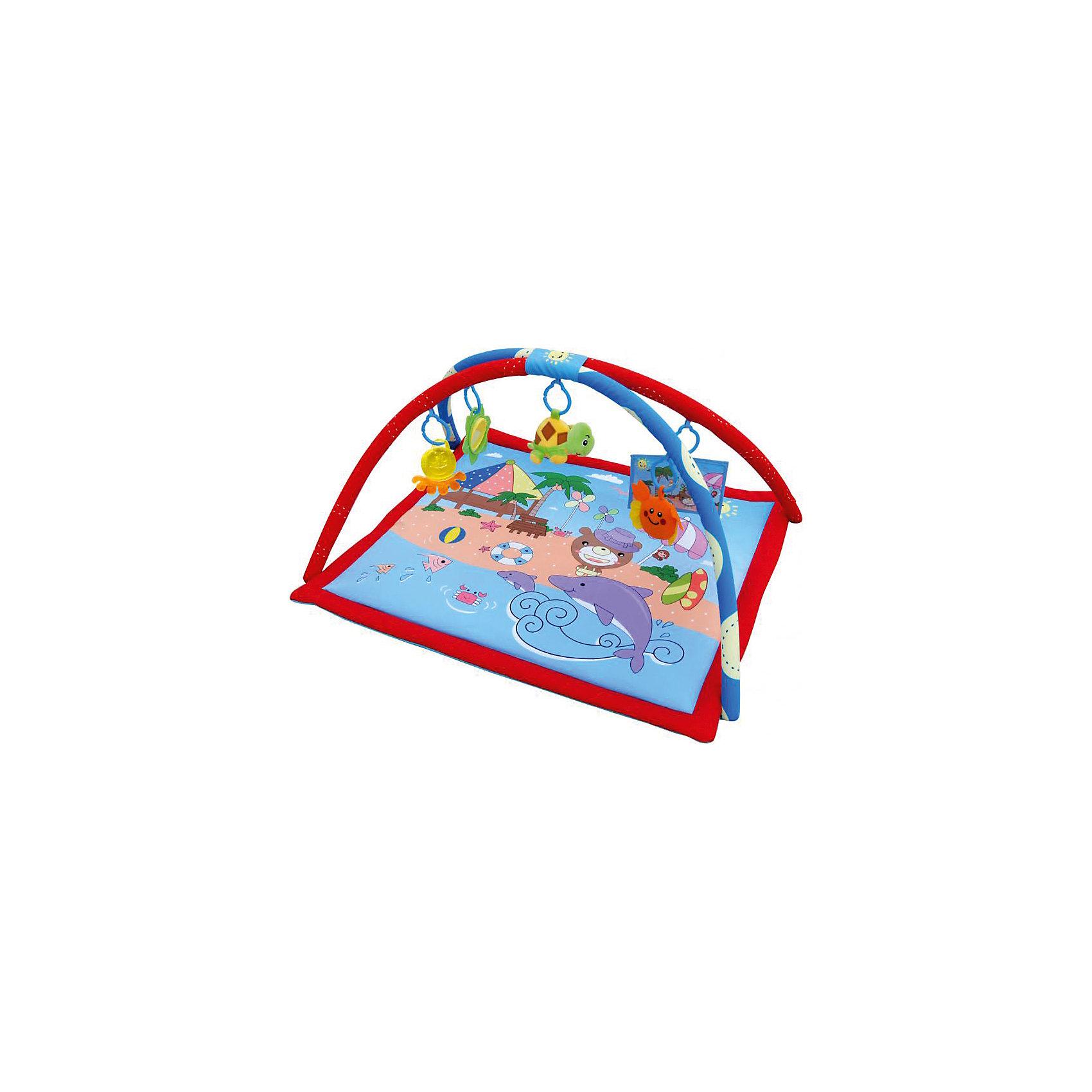 Развивающий коврик Прекрасный пляж, LaDiDaЯркий развивающий коврик обязательно привлечет внимание малышей, надолго их заинтересует и поможет развить моторику, хватательный рефлекс и цветовосприятие. Коврик имеет две дуги, на которых расположены очаровательные игрушки. Подвески выполнены из материалов различных фактур, благодаря чему ваш кроха сможет развить тактильные ощущения, играя с ними. Коврик выполнен из высококачественных материалов, в производстве изделия использованы только качественные безопасные для детей красители. Коврик компактно складывается, удобен в хранении и транспортировке.<br><br>Дополнительная информация:<br><br>- Материал: пластик, текстиль.<br>- Комплектация: коврик с двумя дугами, 5 подвесок (плюшевая погремушка-черепаха, погремушка-краб, зеркальце, мягкий альбом и прорезыватель).<br>- Размер: 80x80x50 см.<br>- Легко стирается. <br><br>Развивающий коврик Прекрасный пляж, LaDiDa, можно купить в нашем магазине.<br><br>Ширина мм: 570<br>Глубина мм: 550<br>Высота мм: 60<br>Вес г: 800<br>Возраст от месяцев: 0<br>Возраст до месяцев: 36<br>Пол: Унисекс<br>Возраст: Детский<br>SKU: 4443757