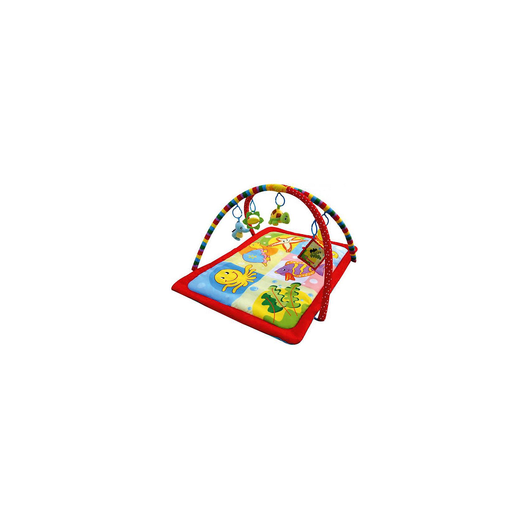 Развивающий коврик Морская вечеринка, LaDiDaЯркий развивающий коврик обязательно привлечет внимание малышей, надолго их заинтересует и поможет развить моторику, хватательный рефлекс и цветовосприятие. Коврик имеет две дуги, на которых расположены очаровательные игрушки. Подвески выполнены из материалов различных фактур, благодаря чему ваш кроха сможет развить тактильные ощущения, играя с ними. Коврик выполнен из высококачественных материалов, в производстве изделия использованы только качественные безопасные для детей красители. Коврик компактно складывается, удобен в хранении и транспортировке.<br><br>Дополнительная информация:<br><br>- Материал: пластик, текстиль.<br>- Комплектация: коврик с двумя дугами, 5 подвесок (плюшевая черепашка, морской конек с кольцом-погремушкой, вращающееся зеркальце в форме цветка, прорезыватель в форме осьминога).<br>- Размер: 93х68х43 см<br>- Легко стирается. <br><br>Развивающий коврик Морская вечеринка, LaDiDa, можно купить в нашем магазине.<br><br>Ширина мм: 570<br>Глубина мм: 550<br>Высота мм: 60<br>Вес г: 800<br>Возраст от месяцев: 0<br>Возраст до месяцев: 36<br>Пол: Унисекс<br>Возраст: Детский<br>SKU: 4443758