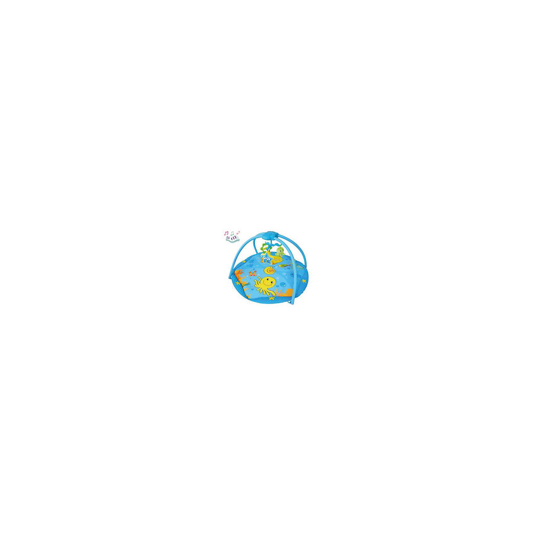 Развивающий коврик Морские животные, LaDiDaЯркий развивающий коврик обязательно привлечет внимание малышей, надолго их заинтересует и поможет развить моторику, хватательный рефлекс и цветовосприятие. Коврик имеет дуги, на которых расположены очаровательные игрушки. Подвески выполнены из материалов различных фактур, благодаря чему ваш кроха сможет развить тактильные ощущения, играя с ними. Коврик оснащен музыкальным блоком с вращающейся каруселью, выполнен из высококачественных материалов, в производстве изделия использованы только качественные безопасные для детей красители. Коврик компактно складывается, удобен в хранении и транспортировке.<br><br>Дополнительная информация:<br><br>- Материал: пластик, текстиль.<br>- Комплектация: коврик с двумя дугами, 5 подвесок (погремушка-звезда, мягкий осьминог, краб с колокольчиком, зеркальце-цветок, прорезыватель-осьминог).<br>- Музыкальный блок, карусель.<br>- Размер: 81х50х82 см<br>- Легко стирается. <br>- Элемент питания: 3 АА батарейки.<br><br>Развивающий коврик Морские животные, LaDiDa, можно купить в нашем магазине.<br><br>Ширина мм: 600<br>Глубина мм: 430<br>Высота мм: 100<br>Вес г: 800<br>Возраст от месяцев: 0<br>Возраст до месяцев: 36<br>Пол: Унисекс<br>Возраст: Детский<br>SKU: 4443759