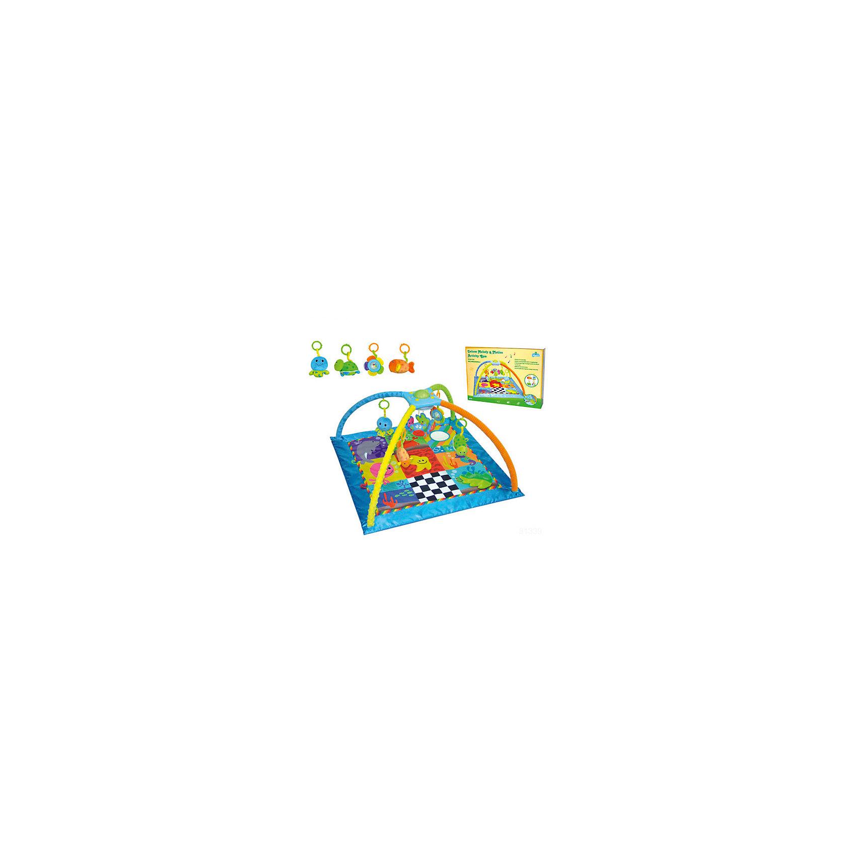 Развивающий коврик Подводные игры, ParkfieldРазвивающие коврики<br>Яркий развивающий коврик обязательно привлечет внимание малышей, надолго их заинтересует и поможет развить моторику, хватательный рефлекс и цветовосприятие. Коврик имеет дуги, соединенные между собой музыкальной шкатулкой с вращающимися игрушками. Подвески выполнены из материалов различных фактур, благодаря чему ваш кроха сможет развить тактильные ощущения, играя с ними. Коврик оснащен музыкальным блоком с вращающейся каруселью, для работы блока не требуются батарейки, выполнен из высококачественных материалов, в производстве изделия использованы только качественные безопасные для детей красители. Коврик компактно складывается, удобен в хранении и транспортировке.<br><br>Дополнительная информация:<br><br>- Материал: пластик, текстиль.<br>- Комплектация: коврик с двумя дугами, музыкальная шкатулка с игрушками, 4 подвесные игрушки. <br>- Музыкальный блок, карусель (работает без батареек).<br>- Размер: 86x48x86  см.<br>- Легко стирается. <br><br>Развивающий коврик Подводные игры, Parkfield, можно купить в нашем магазине.<br><br>Ширина мм: 820<br>Глубина мм: 530<br>Высота мм: 75<br>Вес г: 800<br>Возраст от месяцев: 0<br>Возраст до месяцев: 36<br>Пол: Унисекс<br>Возраст: Детский<br>SKU: 4443761