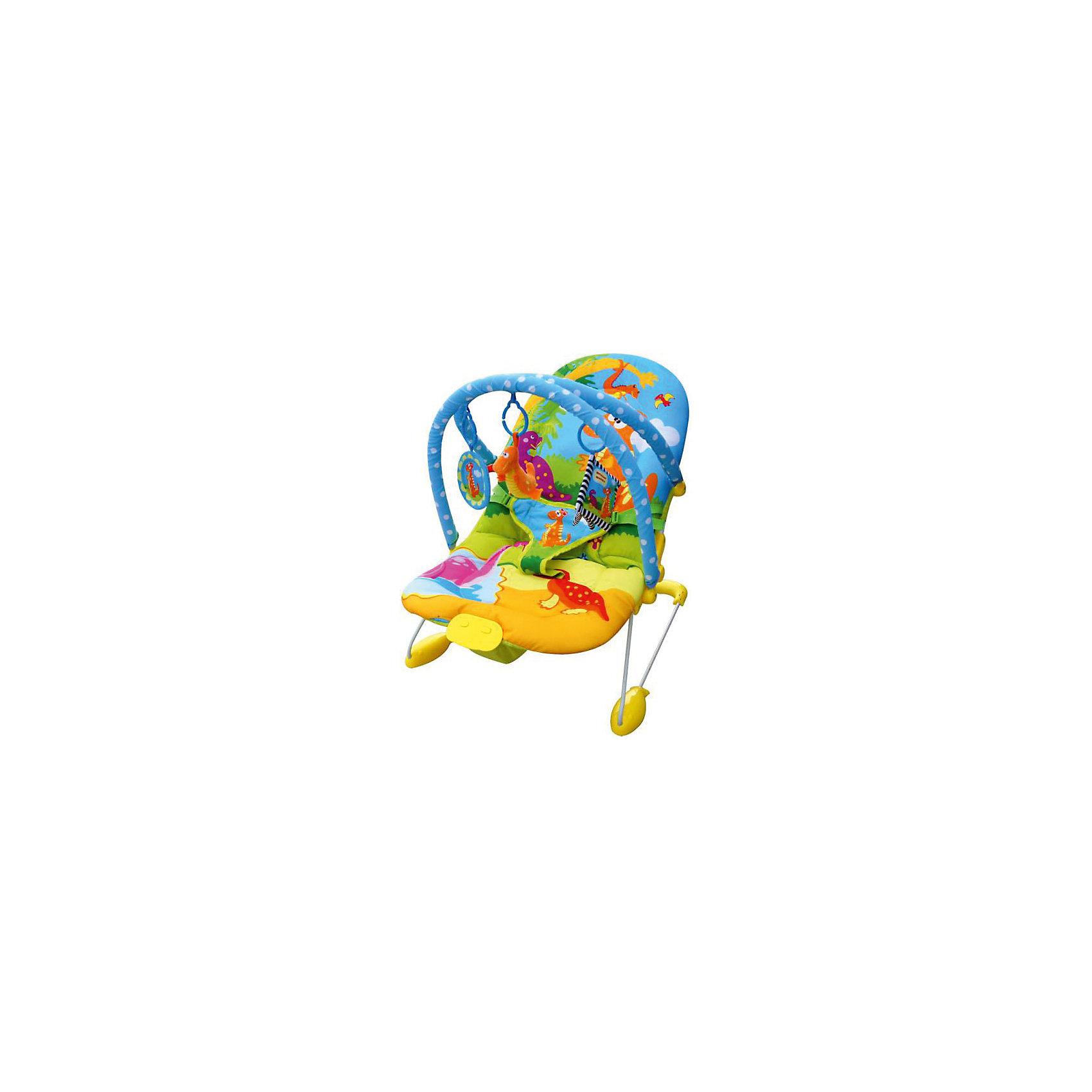 Музыкальный шезлонг Динозаврик с двумя игровыми дугами, LaDiDaЯркий музыкальный шезлонг имеет устойчивую надежную опору, которая исключает переворачивание.  Удобная спинка быстро изменяет угол наклона, вплоть до положения лежа. Очень легкая модель компактно складывается и раскладывается, занимает мало места при хранении и транспортировке. Шезлонг имеет дугу с яркими игрушками, которые обязательно привлекут внимание ребенка. 7 мелодий и легкая вибрация успокоят кроху и обеспечат ему комфортный и спокойный отдых. Мягкое сиденье из влагоотталкивающего материала протирается губкой. Система страховочных ремешков обеспечивает безопасность. Шезлонг изготовлен из прочных, высококачественных материалов, безопасен для детей.<br><br>Дополнительная информация:<br><br>- Материал: пластик, ПЭ, металл. <br>- Размер: 78х59х51.<br>- Страховочные ремни (3-х точечные).<br>- Вибрация.<br>- 7 мелодий.<br>- Дуга с игрушками.<br>- Легко и быстро складывается.<br>- Регулируемая спинка (до положения лежа). <br>- Устойчивая, надёжная опора. <br>- Регулировка громкости.<br>- Световая дуга. <br>- Мягкое сиденье из влагоотталкивающего материала.<br>- Максимальный вес ребенка: 9 кг. <br>- Элемент питания: АА батарейки (не входят в комплект). <br><br>Музыкальный шезлонг Динозаврик с двумя игровыми дугами, LaDiDa, можно купить в нашем магазине.<br><br>Ширина мм: 530<br>Глубина мм: 470<br>Высота мм: 100<br>Вес г: 2800<br>Возраст от месяцев: 0<br>Возраст до месяцев: 6<br>Пол: Унисекс<br>Возраст: Детский<br>SKU: 4443765