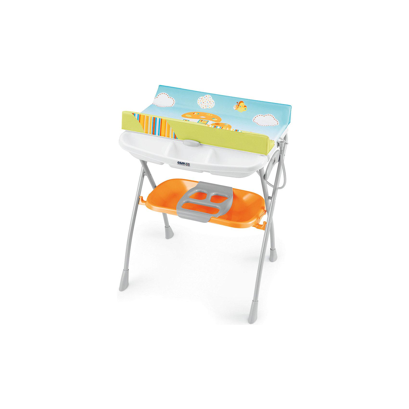 Пеленальный столик с ванночкой Volare Грибок, CAM,  оранжевыйИдеи подарков<br>Пеленальный столик с ванночкой - идеальный вариант для мам и малышей! Мягкий пеленальный матрасик надежно крепится к столу, покрыт водонепроницаемой тканью. Сбоку есть удобные полки для детских принадлежностей. Внизу расположена удобная ванночка со сливным отверстием. Стол. изготовлен из высококачественных прочных материалов, легко и быстро и компактно складывается, занимает мало места при хранении и транспортировке.  <br><br>Дополнительная информация:<br><br>- Материал: пластик, металл.<br>- Размер столика: 81х94х68 см.<br>- Удобная полка для детских принадлежностей.<br>- Сливное отверстие в ванночке.<br>- Съемный пеленальный матрас.<br>- Легко складывается. <br><br>Стол для пеленания с ванночкой Volare Грибок, CAM,  оранжевый, можно купить в нашем магазине.<br><br>Ширина мм: 1090<br>Глубина мм: 195<br>Высота мм: 810<br>Вес г: 10300<br>Возраст от месяцев: 0<br>Возраст до месяцев: 12<br>Пол: Унисекс<br>Возраст: Детский<br>SKU: 4443769