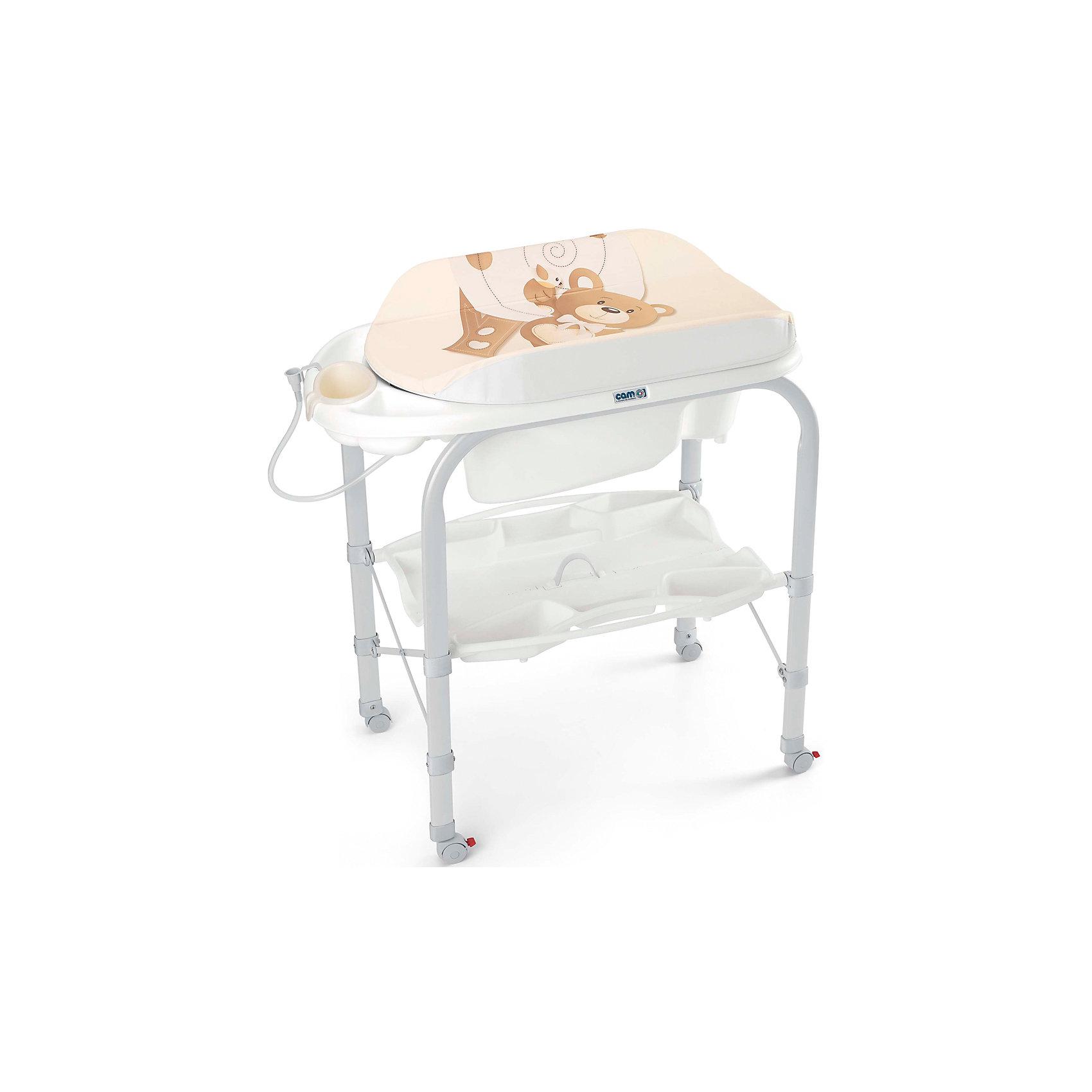 Стол для пеленания Cambio Мишка, CAM, бежевыйПеленальный столик с ванночкой - идеальный вариант для мам и малышей! Мягкий пеленальный матрасик надежно крепится к столу, покрыт водонепроницаемой тканью. Внизу есть удобные полки для детских принадлежностей. Ножки стола оснащены небольшими колесиками с фиксаторами. В ванночке предусмотрены шланг для слива воды, заглушка, 2 нескользящих сиденья: наклоненное - для малышей до 6-ти месяцев и с подлокотниками для деток постарше. Стол изготовлен из высококачественных прочных материалов, легко и быстро и компактно складывается, занимает мало места при хранении и транспортировке.  <br><br>Дополнительная информация:<br><br>- Материал: пластик, металл.<br>- Размер в разложенном виде: 95х54х104 см.<br>- Размер в сложенном виде: 83х31х93 см.<br>- Удобная полка для детских принадлежностей.<br>- Сливное отверстие с заглушкой.<br>- 2 сиденья.<br>- Колеса с фиксаторами.<br>- Съемный пеленальный матрас.<br>- Легко складывается. <br><br>Стол для пеленания с ванночкой Cambio Мишка, CAM, бежевый, можно купить в нашем магазине.<br><br>Ширина мм: 570<br>Глубина мм: 280<br>Высота мм: 840<br>Вес г: 11000<br>Возраст от месяцев: 0<br>Возраст до месяцев: 12<br>Пол: Унисекс<br>Возраст: Детский<br>SKU: 4443770