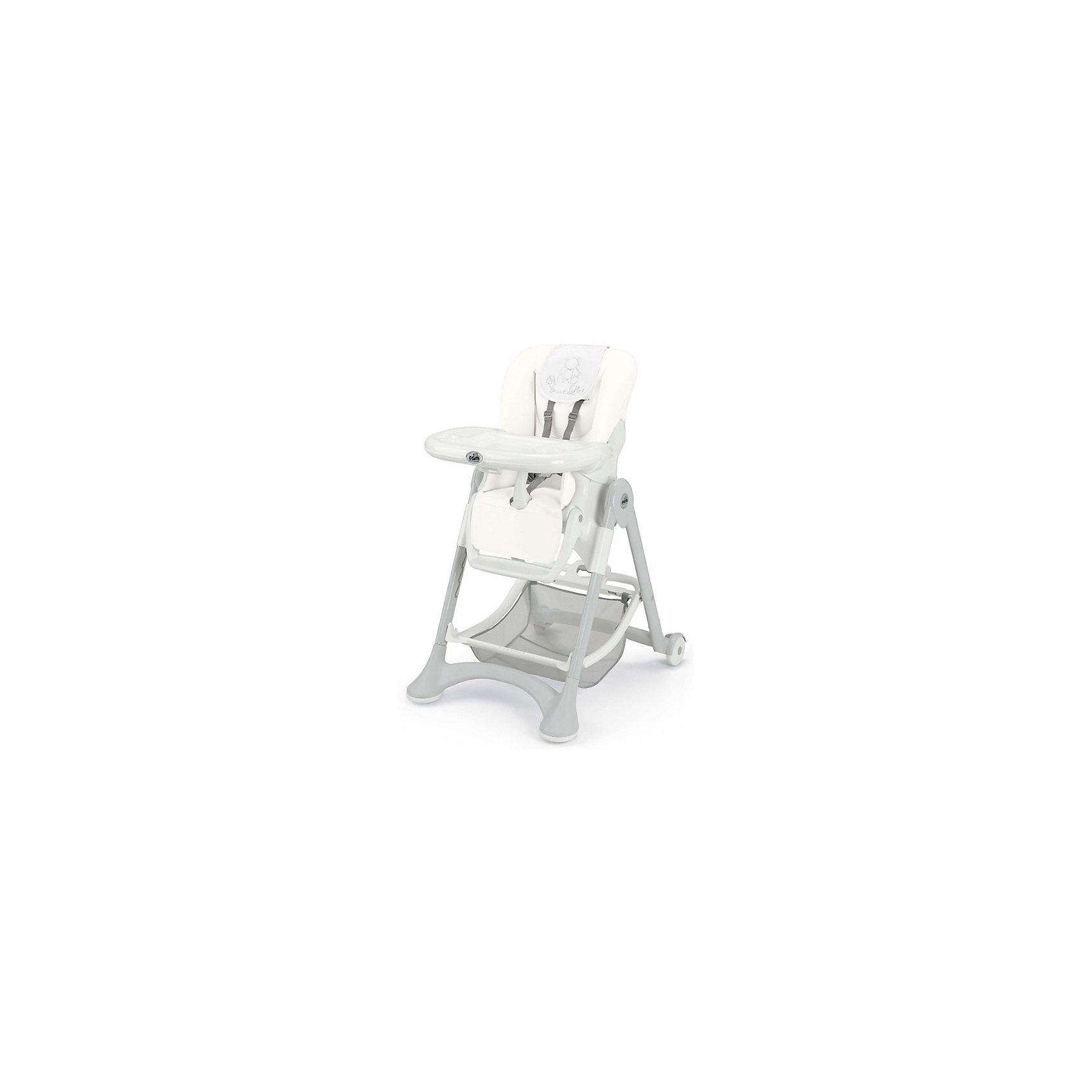 Стульчик для кормления Campione Elegant, CAM, White LeatheretteСтульчики для кормления<br>Очень удобный и комфортный стульчик для кормления обязательно понравится малышам! Мягкое сиденье с регулируемой спинкой, страховочными ремнями и удобным разделителем для ног обеспечит малышам комфорт и безопасность. Стульчик имеет колесики, облегчающие перемещение по квартире; удобную подставку для ножек ребенка; съемный стол можно мыть в посудомоечной машине. Обивка стула выполнена из мягкой ткани, сам стул изготовлен из высококачественных прочных и экологичных материалов. Передняя часть рамы снабжена нескользящими ножками, которые обеспечивают дополнительную безопасность. Под сиденьем располагается большая корзина для игрушек и вещей. <br><br>Дополнительная информация:<br><br>- Материал: пластик, металл, <br>- Размеры : 109х84х61 см<br>- Размеры в сложенном виде: 97х40х61 см.<br>- Колесики.<br>- Вместительная корзина внизу. <br>- Нескользящие ножки.<br>- Регулируемый наклон спинки ( 3 положения, до положения лежа).<br>- Компактно складывается.<br>- Съемный стол (можно мыть в посудомоечной машине).<br>- Регулировка по высоте в 6 положениях. <br>- Регулируемая подножка.<br>- 5-ти точечные ремни безопасности.<br>- Чехол из ткани легко чистить. <br><br>Стульчик для кормления Campione Elegant, CAM, White Leatherette, можно купить в нашем магазине.<br><br>Ширина мм: 627<br>Глубина мм: 307<br>Высота мм: 980<br>Вес г: 12200<br>Возраст от месяцев: 6<br>Возраст до месяцев: 36<br>Пол: Унисекс<br>Возраст: Детский<br>SKU: 4443774