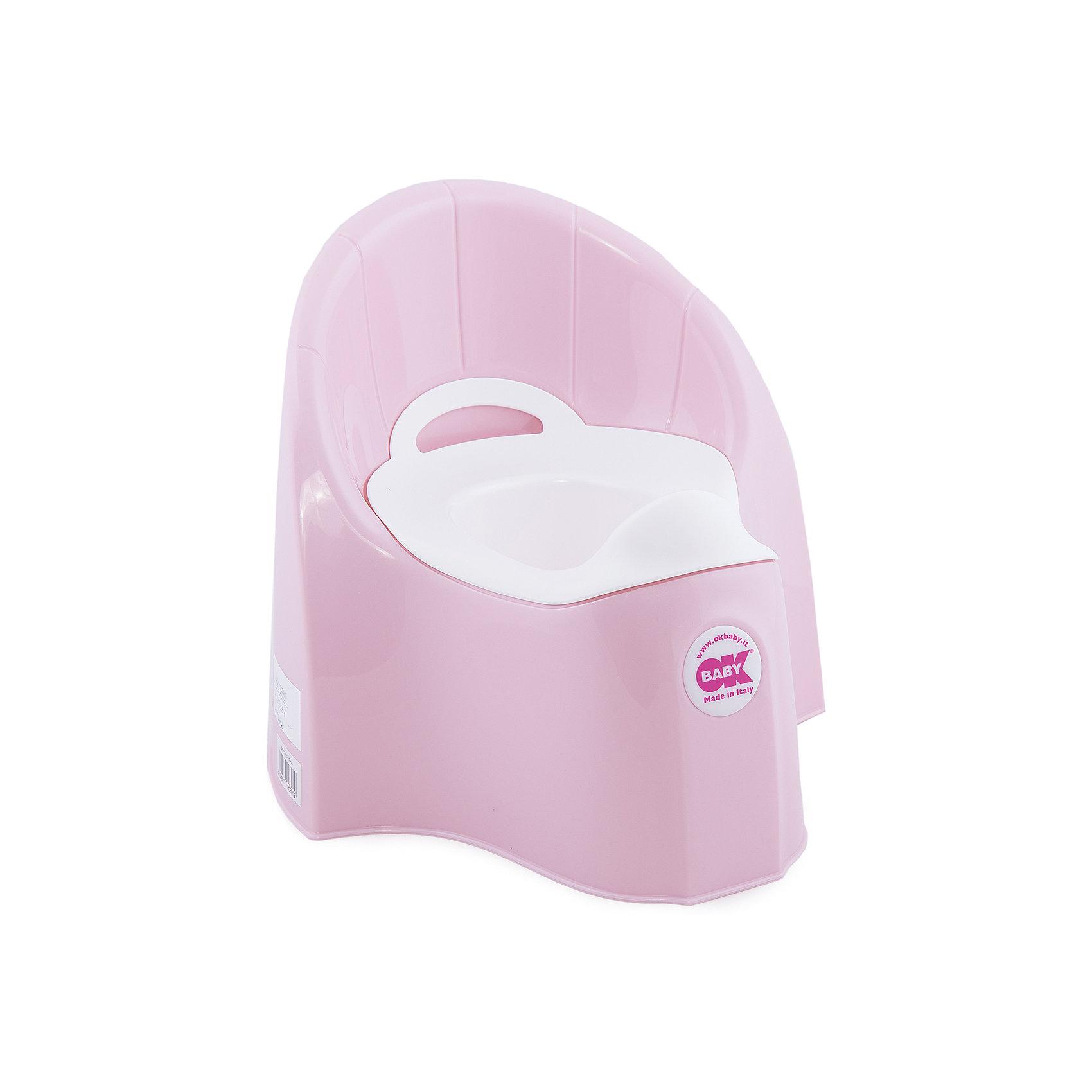 Горшок Pasha, Ok Baby, светло-розовыйГоршки, сиденья для унитаза, стульчики-подставки<br>Горшок имеет анатомическое сиденье и съемную емкость для удобной очистки. Яркий горшок со спинкой обязательно понравится ребенку и обеспечит ему максимальный комфорт, что является важным фактором в приучении ребенка к туалету. Изделие выполнено из высококачественного прочного пластика, для большей устойчивости оснащено антискользящей накладкой внизу.  <br><br>Дополнительная информация:<br><br>- Материал: пластик.<br>- Размер: 33,5 x 36,5 x 31 см.<br>- Съемная ёмкость.<br>- Удобная спинка.<br><br>Горшок Pasha, Ok Baby, светло-розовый, можно купить в нашем магазине.<br><br>Ширина мм: 365<br>Глубина мм: 335<br>Высота мм: 310<br>Вес г: 2500<br>Возраст от месяцев: 6<br>Возраст до месяцев: 36<br>Пол: Унисекс<br>Возраст: Детский<br>SKU: 4443780
