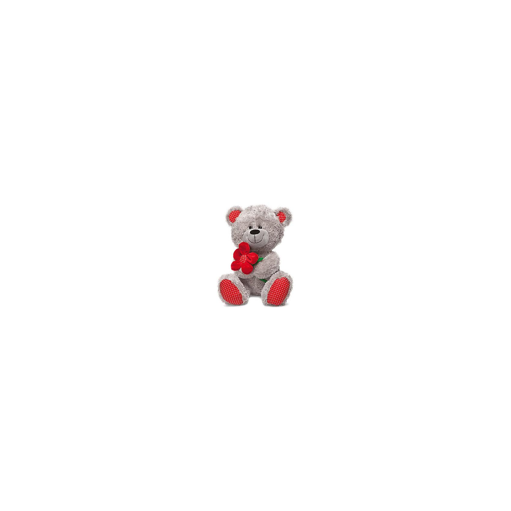 LAVA Медведь с красным цветком, 28 см., LAVA lava медвежонок с нарциссом музыкальный 20см lava