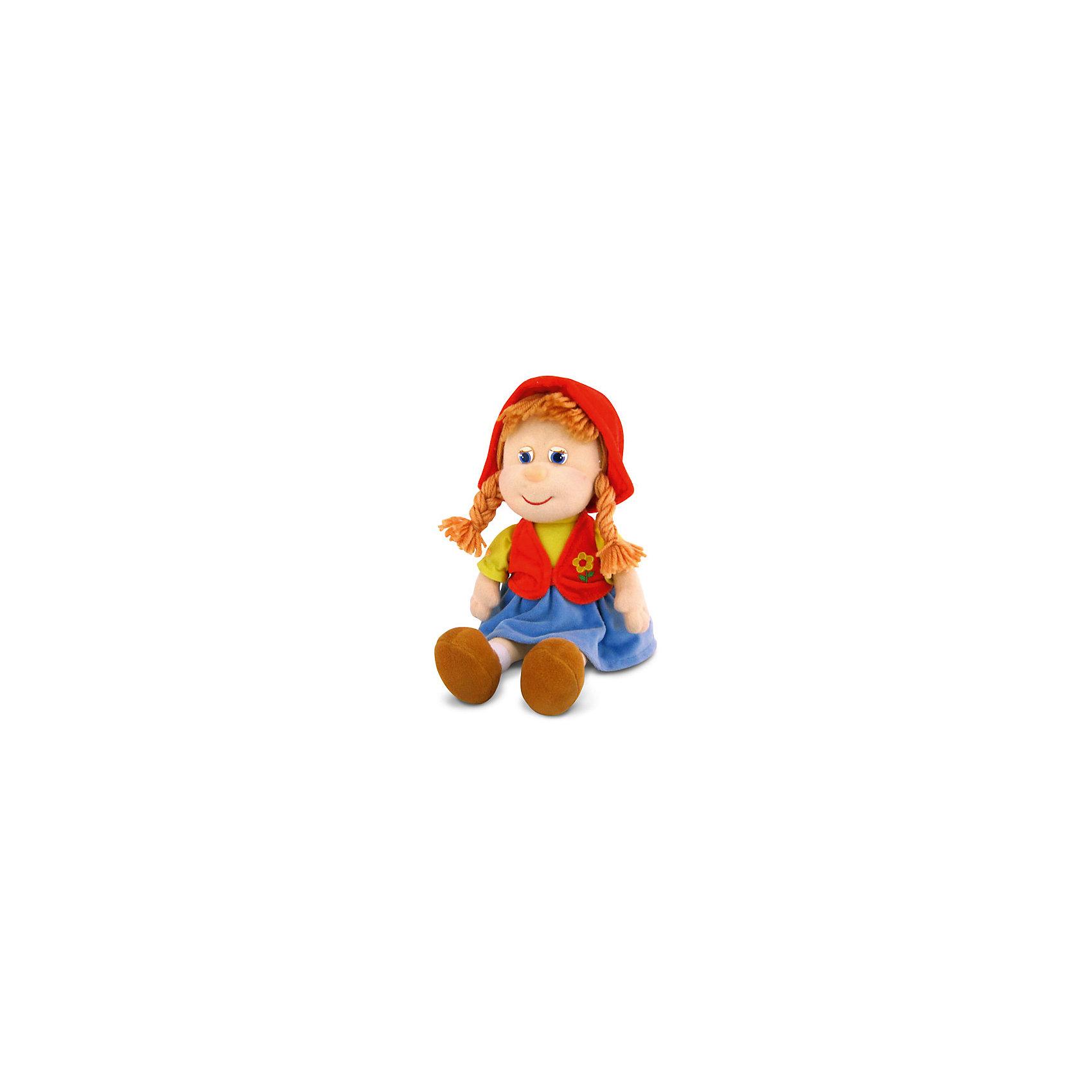 Красная шапочка, музыкальная, LAVAМягкие куклы<br>Любимая героиня известной сказки теперь в виде замечательной мягкой игрушки! Красная шапочка споет девочке песенку и обязательно позабавит малышку. Волосы куклы изготовлены из ниток, они не запутаются, не требуют постоянного расчесывания, поэтому их удобно заплетать даже самым маленьким девочкам. Игрушка выполнена из высококачественного гипоаллергенного материала, очень приятна на ощупь, абсолютно безопасна для детей.  <br><br>Дополнительная информация:<br><br>- Материал: текстиль, синтепон, пластик.<br>- Высота: 25 см. <br>- Поет песенку. <br>- Элемент питания: батарейка (в комплекте).<br><br>Красную шапочку, музыкальную, LAVA (ЛАВА) можно купить в нашем магазине.<br><br>Ширина мм: 150<br>Глубина мм: 150<br>Высота мм: 230<br>Вес г: 276<br>Возраст от месяцев: 36<br>Возраст до месяцев: 1188<br>Пол: Женский<br>Возраст: Детский<br>SKU: 4444144