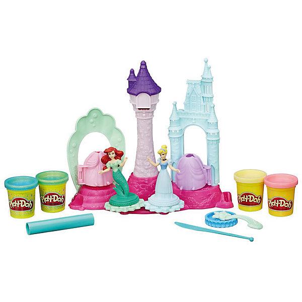 Игровой набор Замок принцесс, Play-DohНаборы для лепки<br>Игровой набор Замок принцесс, Play-Doh – это творческий набор для создания неповторимых нарядов сказочным красавицам.<br>В игровой набор Замок принцесс входят две фигурки принцесс — Золушки и Ариэль, замок, а главное — целых четыре баночки с пластилином Play-Doh. В двух из них содержится пластилин с блестками, позволяющий сделать наряды принцесс еще более роскошными. Для работы с пластилином в наборе присутствуют формы для изготовления основ платьев, валик для раскатывания пластилина, безопасный пластиковый нож, а также фигурный ролик для производства дополнительных деталей нарядов, и вращающиеся платформы, с помощью которых принцессы смогут предстать перед зрителями во всей красе. Кроме того, в высокой башне замка, глядя в окошко, сидит Рапунцель (ее изображает красочная наклейка). Используя фигурное отверстие под окном, ребенок сможет сделать Рапунцель ее знаменитые длинные волосы. Пластилин Play-Doh создан из пищевых компонентов, благодаря чему он абсолютно безопасен для здоровья маленьких детей. Кроме того, пластилин не липнет к рукам, не оставляет следов на одежде, а также имеет приятный запах. Игровой набор Замок принцесс, Play-Doh подарит вашей малышке увлекательный, интересный, а также полезный игровой процесс, во время которого она будет развивать фантазию и мелкую моторику.<br><br>Дополнительная информация:<br><br>- В наборе: замок, фигурки Золушки и Ариэль, башня Рапунцель, 2 формы для создания платьев, нож пластиковый, ролики и 4 стандартные баночки пластилина Play-Doh, в том числе с блестящим пластилином<br>- Цвета пластилина: розовый, желтый, голубой (с блестками), зеленый (с блестками)<br>- Состав: пластмасса, пластилин<br>- Вес пластилина: 224 гр.<br>- Высота принцесс: 7,5 см.<br>- Размер упаковки: 34 x 31 x 7 см.<br>- Вес: 755 гр.<br><br>Игровой набор Замок принцесс, Play-Doh можно купить в нашем интернет-магазине.<br>Ширина мм: 64; Глубина мм: 305; Высота мм: 330; Вес г: 1090; Возраст от мес
