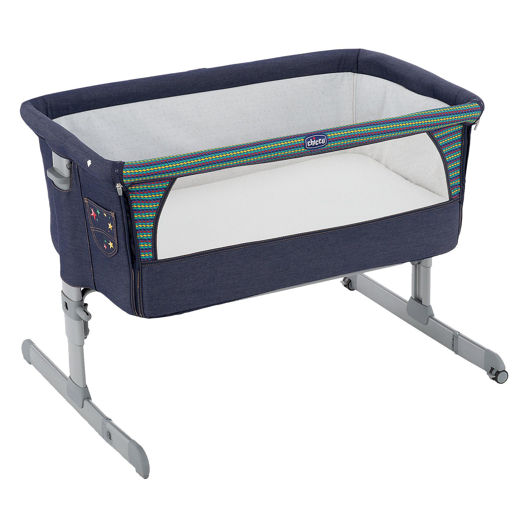 Кроватка Next2me, Chicco, denimКолыбели<br>Практичная и безопасная функциональная кроватка от Chicco - идеальный вариант для малышей и их родителей. Кровать имеет безопасную систему крепления к кровати родителей и позволяет вам спать рядом с малышом, находясь при этом каждый на своей территории. Боковой бортик очень быстро отстегивается, мягкие стенки дают малышу чувства покоя и уюта. Прочная металлическая основа делает кровать практичной и долговечной. Для наибольшего комфорта ребенка кровать оснащена мягким матрасиком и сетчатыми вставками для вентиляции. <br><br>Дополнительная информация:<br><br>- Материал: пластик, текстиль.<br>- Размер: 66/81 x 93 x 69 см.<br>- Размер в сложенном виде: 95 x 15 см.<br>- Вес: 9 кг.<br>- Отстегивающийся бортик.<br>- Удобный матрас.<br>- Вставки из сетки для циркуляции воздуха. <br>- Высота регулируется. <br>- Крепится к кровати в помощью двух ремней. <br>- Максимальный вес ребенка: 9 кг. <br><br>Внимание! Основным является первое фото, последующие фотографии размещены с целью показать функционал данной модели.<br><br>Функциональную кроватку Next2me Denim, Chicco (Чикко), можно купить в нашем магазине.<br><br>Ширина мм: 945<br>Глубина мм: 600<br>Высота мм: 150<br>Вес г: 10300<br>Цвет: синий<br>Возраст от месяцев: 0<br>Возраст до месяцев: 6<br>Пол: Унисекс<br>Возраст: Детский<br>SKU: 4449674