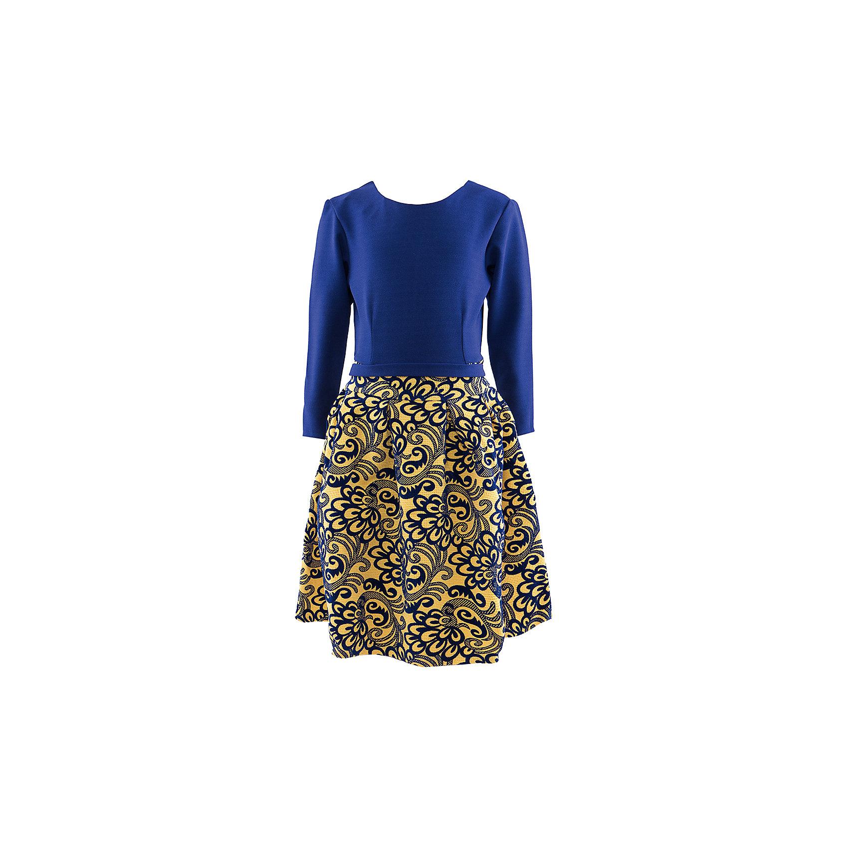Нарядное платье ВенераПлатье для девочки. Длинный рукав, трикотажный верх, пышная жаккардовая юбка, пояс. Застежка молния.<br><br>Ширина мм: 236<br>Глубина мм: 16<br>Высота мм: 184<br>Вес г: 177<br>Цвет: желтый<br>Возраст от месяцев: 84<br>Возраст до месяцев: 96<br>Пол: Женский<br>Возраст: Детский<br>Размер: 122/128,134/140,128/134,116/122<br>SKU: 4452507