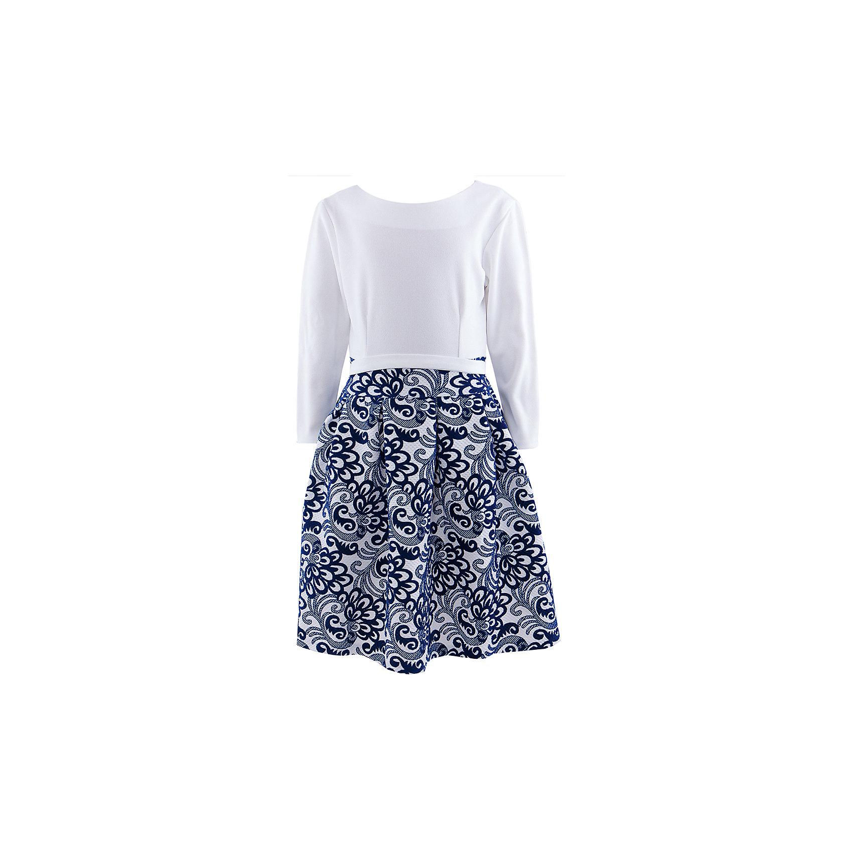 Нарядное платье ВенераПлатье для девочки. Длинный рукав, трикотажный верх, пышная жаккардовая юбка, пояс. Застежка молния.<br><br>Ширина мм: 236<br>Глубина мм: 16<br>Высота мм: 184<br>Вес г: 177<br>Цвет: белый<br>Возраст от месяцев: 72<br>Возраст до месяцев: 84<br>Пол: Женский<br>Возраст: Детский<br>Размер: 116/122,134/140,122/128,128/134<br>SKU: 4452512