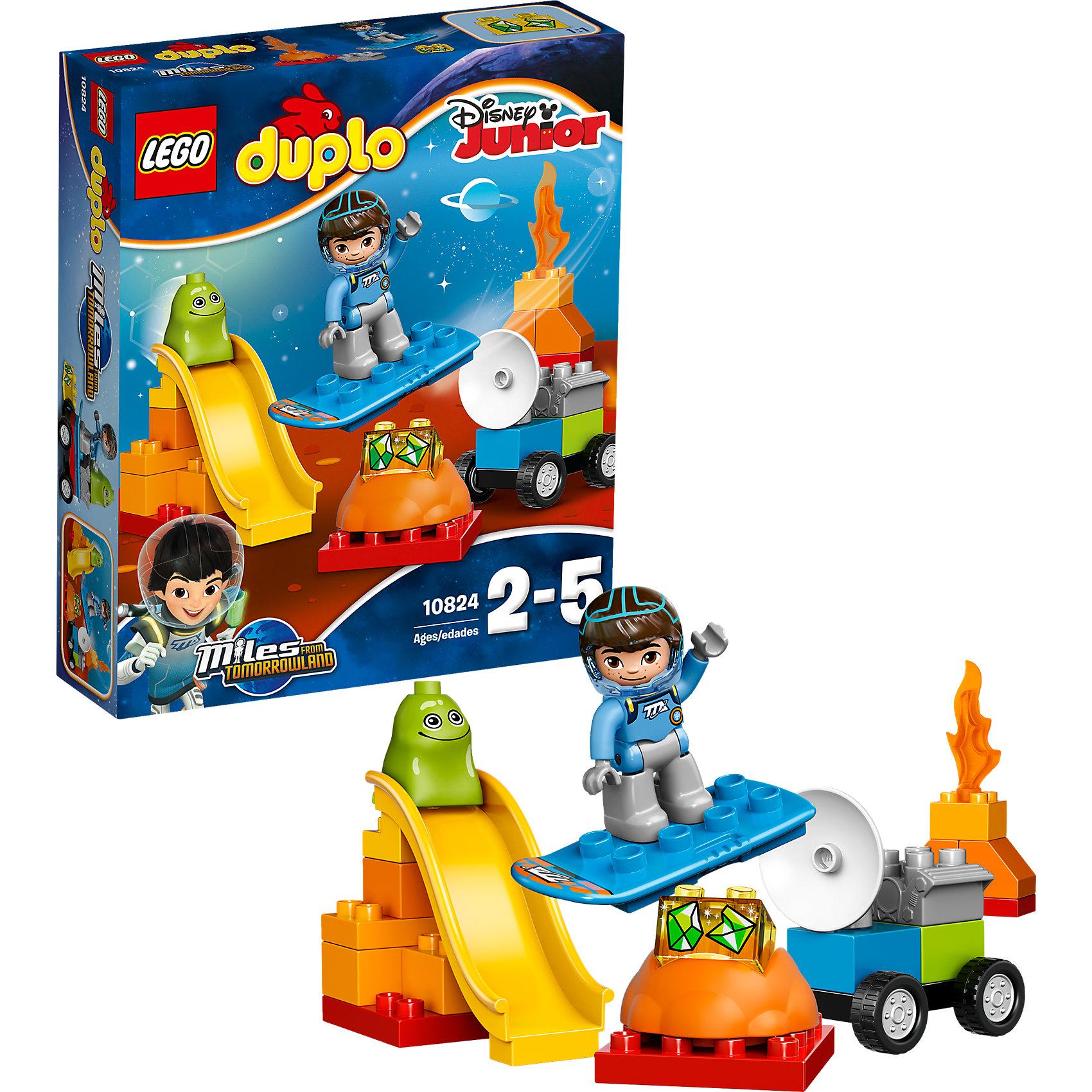 LEGO DUPLO 10824: Космические приключения МайлзаLEGO DUPLO 10824: Космические приключения Майлза - это крупноблочный конструктор, с которым Ваш малыш будет увлечённо играть часами.<br>Маленьким астронавтам понравится персонаж Disney Майлз с Другой планеты. Майлзу предстоит важное и опасное приключение. Используя скафандр и космическое снаряжение, он должен отправиться на одну из далёких планет. Главной целью миссии является добыча редких кристаллов, которые появляются вблизи огненных вулканов. Но, такое сложное задание ничуть не пугает героя. Для перемещения по незнакомой планете он использует бластборд, а для обнаружения полезных ископаемых – машину-робота с мощным мотором и антенной. Когда работа будет выполнена, Майлз сможет проявить смекалку и, объединив борд и робота, сделать грузовой самолёт с длинными крыльями и круглым двигателем. Также во время своего путешествия он обязательно познакомиться с коренным жителем планеты - весёлым зелёным гуманоидом. Вместе друзья не только поработают, но и поиграют, смастерив длинную горку.<br>Блоки LEGO DUPLO созданы специально для маленьких детских рук, они восемь раз больше стандартных блоков LEGO. С набором LEGO DUPLO 10824: Космические приключения Майлза Ваш ребенок сможет легко научиться базовым навыкам конструирования и развить воображение.<br><br>Дополнительная информация:<br><br>- Возраст: от 2 до 5 лет<br>- Количество деталей: 23<br>- В наборе: фигурка Майлза, фигурка пришельца, блок с изображением кристаллов, вулкан, огонь, бластборд, колёсная основа, антенна, мотор и другие детали<br>- Материал: высококачественный пластик<br>- Размер упаковки: 26 x 6 x 22 см.<br>- Вес: 350 гр.<br><br>Набор LEGO DUPLO 10824: Космические приключения Майлза можно купить в нашем интернет-магазине.<br><br>Ширина мм: 260<br>Глубина мм: 220<br>Высота мм: 60<br>Вес г: 608<br>Возраст от месяцев: 24<br>Возраст до месяцев: 60<br>Пол: Мужской<br>Возраст: Детский<br>SKU: 4462331