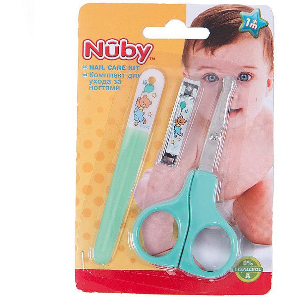 Маникюрный набор для малыша, Nuby, зеленыйУход за ребенком<br>Ногти ребенку нужно стричь обязательно  - на руках и на ногах; ими кроха может легко оцарапать себя. Стричь ногти следует не слишком коротко. Используйте щипчики или ножницы с закругленными концами. Щипчиками стричь легче - целиком захватив ноготок, вы быстро откусите лишнее. Мягкая пилочка поможет загладить неровности.<br><br>В маникюрный набор для малыша входят маленькие щипчики, подходящие для мягких ногтей малыша, пилочка из мягкой пластмассы и маникюрные ножницы с закругленными кончиками. <br>Набор был с большой тщательностью разработан с учетом анатомического строения малышей и удобства взрослых.<br><br>В набор входят: ножницы, щипчики, пилочка.<br><br>Маникюрный набор для малыша, Nuby можно купить в нашем интернет-магазине.<br>Ширина мм: 145; Глубина мм: 96; Высота мм: 8; Вес г: 48; Возраст от месяцев: 0; Возраст до месяцев: 36; Пол: Унисекс; Возраст: Детский; SKU: 4464204;