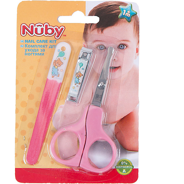 Маникюрный набор для малыша, Nuby, розовыйУход за ребенком<br>Ногти ребенку нужно стричь обязательно  - на руках и на ногах; ими кроха может легко оцарапать себя. Стричь ногти следует не слишком коротко. Используйте щипчики или ножницы с закругленными концами. Щипчиками стричь легче - целиком захватив ноготок, вы быстро откусите лишнее. Мягкая пилочка поможет загладить неровности.<br><br>В маникюрный набор для малыша входят маленькие щипчики, подходящие для мягких ногтей малыша, пилочка из мягкой пластмассы и маникюрные ножницы с закругленными кончиками. <br>Набор был с большой тщательностью разработан с учетом анатомического строения малышей и удобства взрослых.<br><br>В набор входят: ножницы, щипчики, пилочка.<br><br>Маникюрный набор для малыша, Nuby можно купить в нашем интернет-магазине.<br>Ширина мм: 145; Глубина мм: 96; Высота мм: 8; Вес г: 48; Возраст от месяцев: 0; Возраст до месяцев: 36; Пол: Женский; Возраст: Детский; SKU: 4464205;