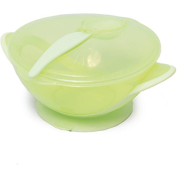 Тарелочка на присоске с ложкой в комплекте, Nuby, салатовыйДетские тарелки<br>Симпатичная тарелочка Nuby  с ярким оригинальным дизайном сделает кормление малыша легким и приятным. Тарелочка снабжена присоской и малыш не сможет уронить ее со стола, что особенно удобно, когда он учится есть самостоятельно. Тарелка достаточно глубокая, с плотно закрывающейся крышкой, подходит для использования в СВЧ. В комплект также входит ложка.<br><br>Дополнительная информация:<br>- Материал: пластик.<br>- Вес: 133 гр.<br>- Размеры упаковки: 195х165х70 мм.<br><br>Тарелочку на присоске Nuby  можно купить в нашем интернет-магазине.<br><br>Ширина мм: 195<br>Глубина мм: 160<br>Высота мм: 80<br>Вес г: 123<br>Возраст от месяцев: 9<br>Возраст до месяцев: 24<br>Пол: Унисекс<br>Возраст: Детский<br>SKU: 4464207
