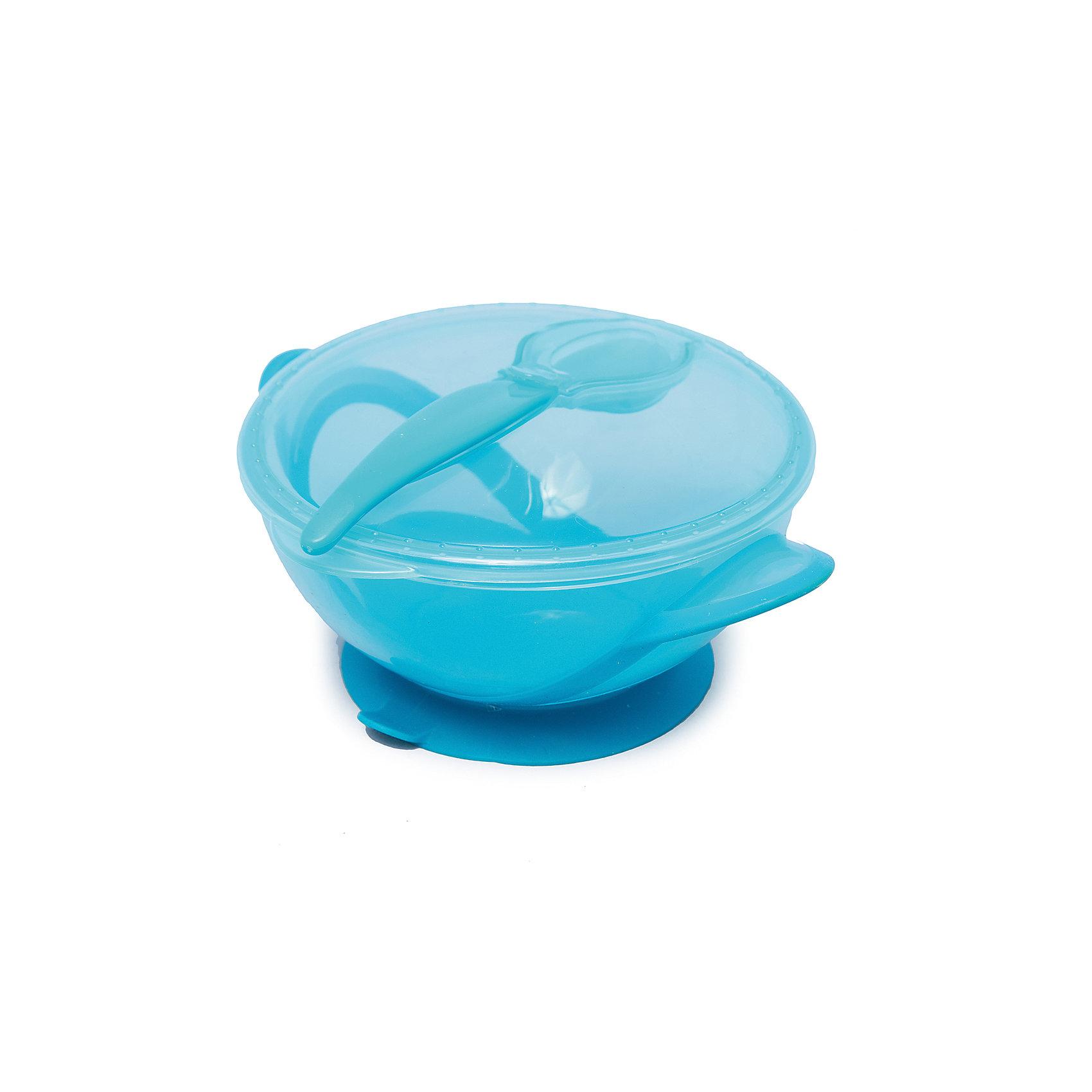 Тарелочка на присоске с ложкой в комплекте, Nuby, голубойТарелки<br>Симпатичная тарелочка Nuby  с ярким оригинальным дизайном сделает кормление малыша легким и приятным. Тарелочка снабжена присоской и малыш не сможет уронить ее со стола, что особенно удобно, когда он учится есть самостоятельно. Тарелка достаточно глубокая, с плотно закрывающейся крышкой, подходит для использования в СВЧ. В комплект также входит ложка.<br><br>Дополнительная информация:<br>- Материал: пластик.<br>- Вес: 133 гр.<br>- Размеры упаковки: 195х165х70 мм.<br><br>Тарелочку на присоске Nuby  можно купить в нашем интернет-магазине.<br><br>Ширина мм: 195<br>Глубина мм: 160<br>Высота мм: 80<br>Вес г: 123<br>Возраст от месяцев: 9<br>Возраст до месяцев: 24<br>Пол: Мужской<br>Возраст: Детский<br>SKU: 4464209