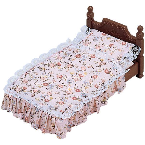 Набор Большая кровать, Sylvanian FamiliesSylvanian Families<br>Набор Большая кровать, Sylvanian Families (Сильваниан Фэмилис), приятно порадует Вашего ребенка и станет прекрасным дополнением к домику веселых зверюшек. В комплект входят деревянная кроватка и постельное белье к ней. Уютная кроватка с красивой резной спинкой подходит для больших и средних фигурок зверюшек Sylvanian Families (Сильваниан Фэмилис) размером 7,5 и 9, 5 см. Подушка, простыня и одеяло выполнены в нежно-розовой расцветке и украшены нарядным цветочным рисунком и кружевом. Этот симпатичный аксессуар сделает игры с любимыми зверюшками еще интереснее и реалистичнее.<br><br>Sylvanian Families (Сильваниан Фэмилис) - это целая серия игровых наборов и забавных зверюшек, которые объединены общим сюжетом: лесные обитатели живут большими семьями в своих домиках, в каждой семье есть родители и дети. Из деталей разных наборов можно собрать целый городок, в котором будут школы, магазины, детские сады, больницы, рынок и многое другое. Набор прекрасно подходит для сюжетно-ролевых игр, развивает мелкую моторику, фантазию, мышление и воображение. <br><br>Дополнительная информация:<br><br>- В комплекте: кровать, постельные принадлежности. <br>- Материал: пластик, текстиль.<br>- Размер упаковки: 13 х 7 х 7 см. <br>- Вес: 85 гр.<br><br>Набор Большая кровать, Sylvanian Families (Сильваниан Фэмилис), можно купить в нашем интернет-магазине.<br><br>Ширина мм: 127<br>Глубина мм: 65<br>Высота мм: 76<br>Вес г: 83<br>Возраст от месяцев: 36<br>Возраст до месяцев: 72<br>Пол: Женский<br>Возраст: Детский<br>SKU: 4471353