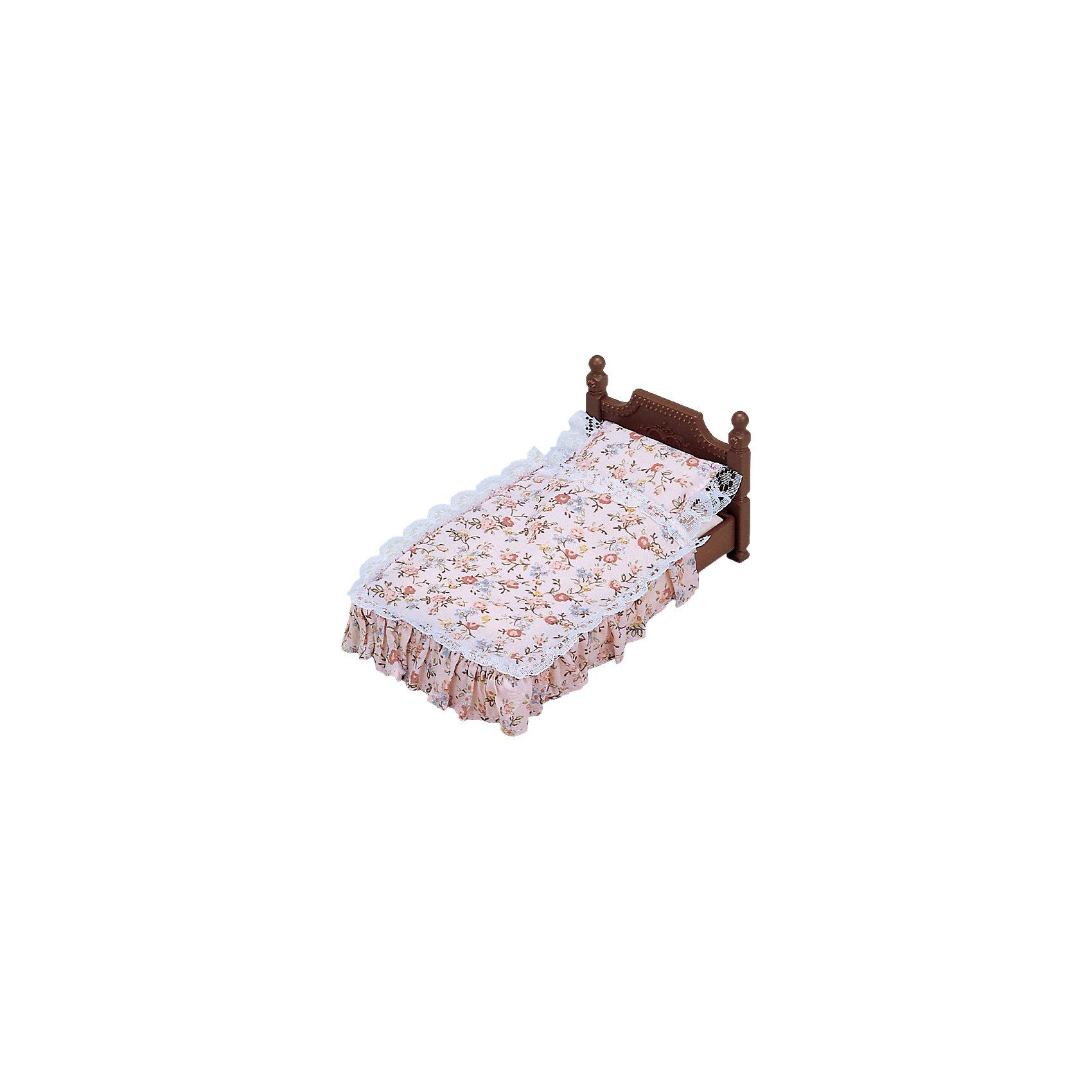 Набор Большая кровать, Sylvanian FamiliesSylvanian Families<br>Набор Большая кровать, Sylvanian Families (Сильваниан Фэмилис), приятно порадует Вашего ребенка и станет прекрасным дополнением к домику веселых зверюшек. В комплект входят деревянная кроватка и постельное белье к ней. Уютная кроватка с красивой резной спинкой подходит для больших и средних фигурок зверюшек Sylvanian Families (Сильваниан Фэмилис) размером 7,5 и 9, 5 см. Подушка, простыня и одеяло выполнены в нежно-розовой расцветке и украшены нарядным цветочным рисунком и кружевом. Этот симпатичный аксессуар сделает игры с любимыми зверюшками еще интереснее и реалистичнее.<br><br>Sylvanian Families (Сильваниан Фэмилис) - это целая серия игровых наборов и забавных зверюшек, которые объединены общим сюжетом: лесные обитатели живут большими семьями в своих домиках, в каждой семье есть родители и дети. Из деталей разных наборов можно собрать целый городок, в котором будут школы, магазины, детские сады, больницы, рынок и многое другое. Набор прекрасно подходит для сюжетно-ролевых игр, развивает мелкую моторику, фантазию, мышление и воображение. <br><br>Дополнительная информация:<br><br>- В комплекте: кровать, постельные принадлежности. <br>- Материал: пластик, текстиль.<br>- Размер упаковки: 13 х 7 х 7 см. <br>- Вес: 85 гр.<br><br>Набор Большая кровать, Sylvanian Families (Сильваниан Фэмилис), можно купить в нашем интернет-магазине.<br><br>Ширина мм: 128<br>Глубина мм: 76<br>Высота мм: 63<br>Вес г: 84<br>Возраст от месяцев: 36<br>Возраст до месяцев: 72<br>Пол: Женский<br>Возраст: Детский<br>SKU: 4471353
