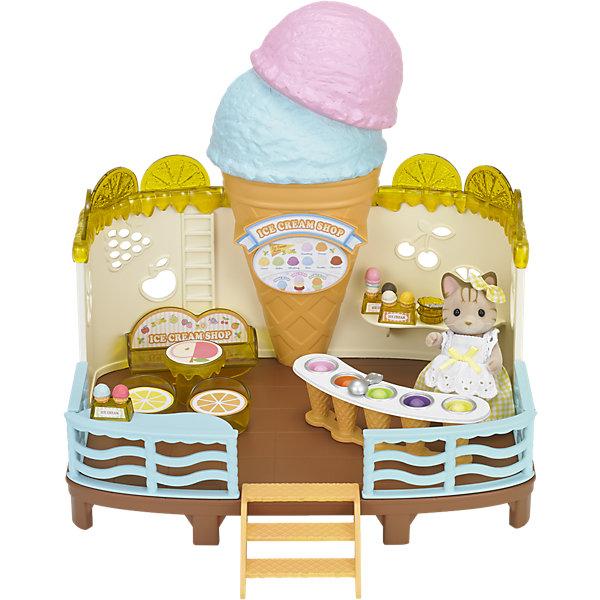 Набор Кафе-мороженое, Sylvanian FamiliesSylvanian Families<br>Набор Кафе-мороженое от Sylvanian Families (Сильваниан Фэмилис) - замечательный игровой набор со множеством интересных деталей, который надолго увлечет Вашего ребенка. Симпатичные зверюшки с удовольствием посетят кафе, где отведают любимый десерт, заботливо приготовленный гостеприимной хозяйкой - милой кошечкой. В комплект входят здание кафе с открытым верхом, фигурка кошки, стойка с мороженым, стулья, столик, держатели для мороженого, посуда и разноцветное мороженое. Фигурка кошечки в белом переднике покрыта приятным на ощупь мягким флоком. У нее подвижная голова, ручки и ножки.<br><br>Sylvanian Families (Сильваниан Фэмилис) - это целая серия игровых наборов и забавных зверюшек, которые объединены общим сюжетом: лесные обитатели живут большими семьями в своих домиках, в каждой семье есть родители и дети. Из деталей разных наборов можно собрать целый городок, в котором будут школы, магазины, детские сады, больницы, рынок и многое другое. Набор прекрасно подходит для сюжетно-ролевых игр, развивает мелкую моторику, фантазию, мышление и воображение. <br><br>Дополнительная информация:<br><br>- В комплекте: здание кафе, фигурка кошки, стойка с мороженым, стулья, столик, держатели для мороженого, посуда, мороженое.<br>- Материал: пластик, флок, текстиль.<br>- Размер упаковки: 25 х 30 х 17 см.<br>- Вес: 1,015 кг.<br><br> Набор Кафе-мороженое, Sylvanian Families (Сильваниан Фэмилис), можно купить в нашем интернет-магазине.<br>Ширина мм: 304; Глубина мм: 266; Высота мм: 175; Вес г: 995; Возраст от месяцев: 36; Возраст до месяцев: 72; Пол: Женский; Возраст: Детский; SKU: 4471357;