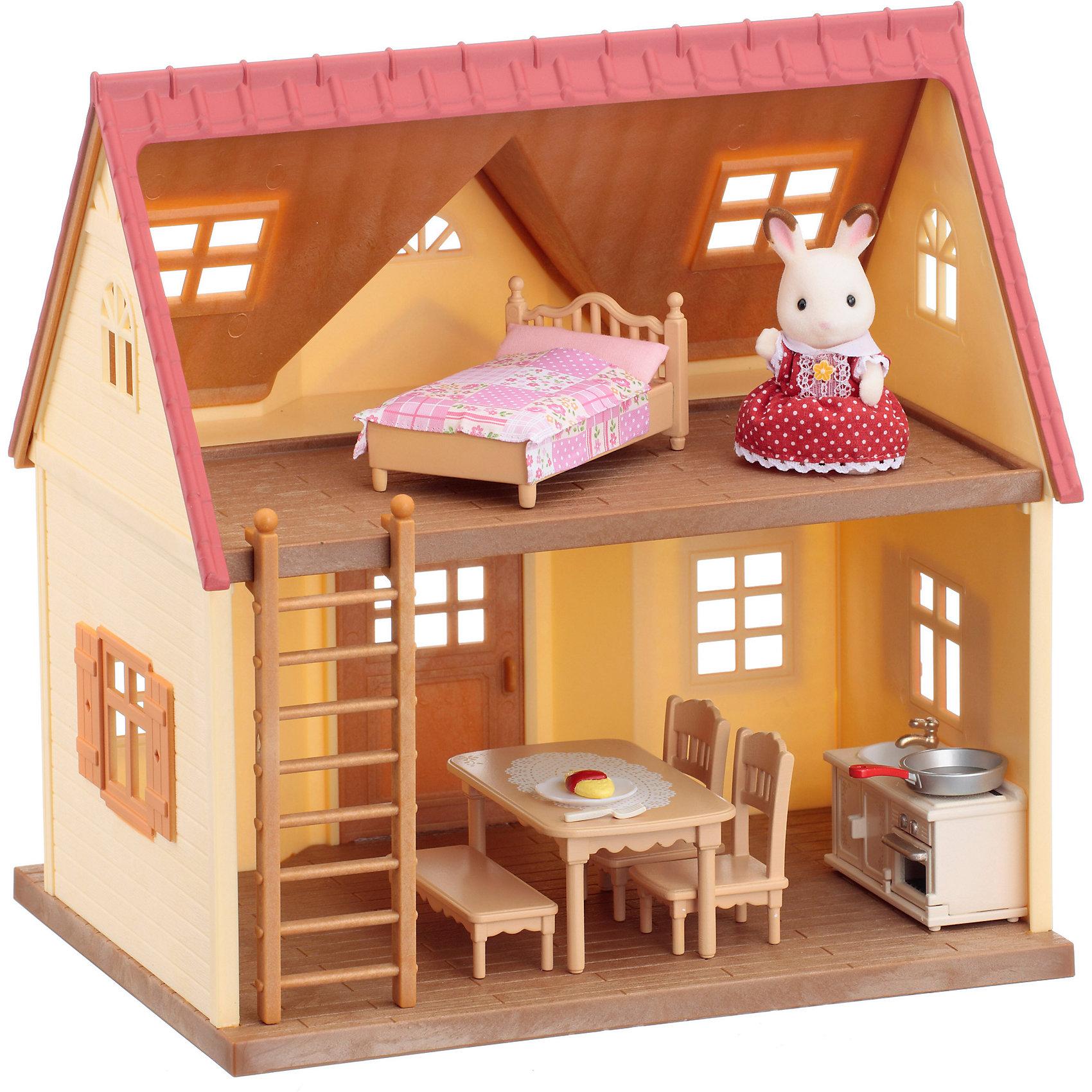 Набор Дом Марии, Sylvanian FamiliesSylvanian Families<br>Набор Дом Марии, Sylvanian Families (Сильваниан Фэмилис) - замечательный игровой набор, который надолго увлечет Вашего ребенка. Уютный двухэтажный домик, в котором живет симпатичная крольчиха, идеально подходит для разнообразных сюжетно-ролевых игр, которые так любят девочки. На первом этаже домика можно расположить кухню и обеденный зал. Просторное помещение хорошо освещается благодаря окошкам, входная дверь открывается. Приставная лестница ведет на второй этаж. Здесь находится спальня с удобной кроваткой, застеленной розовым постельным бельем. При желании двухэтажный домик можно превратить в одноэтажный, увеличив при этом его площадь. Для этого снимите пол второго этажа и удлините им пол первого. В комплект входят двухэтажный домик, фигурка крольчихи, кухонный гарнитур, стол и стулья, кровать, аксессуары. Разнообразная мебель и другие детали набора позволят создать уютную атмосферу в домике симпатичных лесных обитателей. Фигурка крольчихи из качественного пластика покрыта приятным на ощупь мягким флоком. У нее подвижная голова, ручки и ножки.<br><br>Sylvanian Families (Сильваниан Фэмилис) - это целая серия игровых наборов и забавных зверюшек, которые объединены общим сюжетом: лесные обитатели живут большими семьями в своих домиках, в каждой семье есть родители и дети. Из деталей разных наборов можно собрать целый городок, в котором будут школы, магазины, детские сады, больницы, рынок и многое другое. Набор прекрасно подходит для сюжетно-ролевых игр, развивает мелкую моторику, фантазию, мышление и воображение. <br><br>Дополнительная информация:<br><br>- В комплекте: двухэтажный дом со спальней и кухней, фигурка кролика, лестница, кухонный гарнитур (стойка с раковиной, плита), стол, 2 стула, кровать с постельным бельем, аксессуары (сковорода, разделочная доска, нож, тарелка с едой). <br>- Материал: пластик, флок, текстиль.<br>- Высота фигурки: 7,5 см.<br>- Размер дома: 20 х 26 х 28 см. <br>- Размер упаковки: 2
