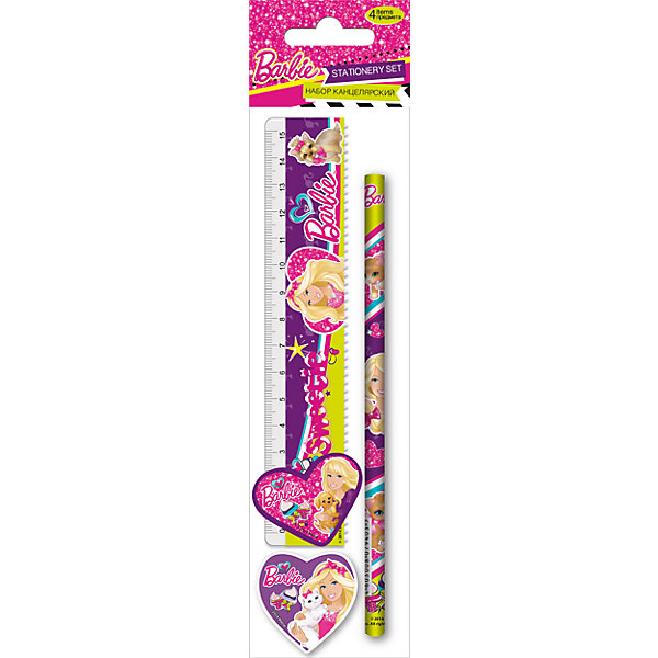Канцелярский набор (4 предмета), BarbieBarbie<br>Канцелярский набор, Barbie - практичный стильный набор со всеми необходимыми для маленькой школьницы принадлежностями. В комплект входят прозрачная линейка, чернографитный карандаш, точилка и фигурный ластик в форме сердечка. Все предметы выполнены в ярком<br>красочном дизайне и украшены изображениями популярной красавицы Барби. Упаковка - ПП пакет с подвесом.<br><br>Дополнительная информация:<br><br>- В комплекте: линейка прозрачная 15 см., чернографитный карандаш, точилка малая, ластик фигурный.<br>- Размер упаковки: 23 х 5,2 х 1,5 см.<br>- Вес: 32 гр.<br><br>Канцелярский набор (4 предмета), Barbie, можно купить в нашем интернет-магазине.<br>Ширина мм: 15; Глубина мм: 52; Высота мм: 230; Вес г: 32; Возраст от месяцев: 96; Возраст до месяцев: 108; Пол: Женский; Возраст: Детский; SKU: 4489520;