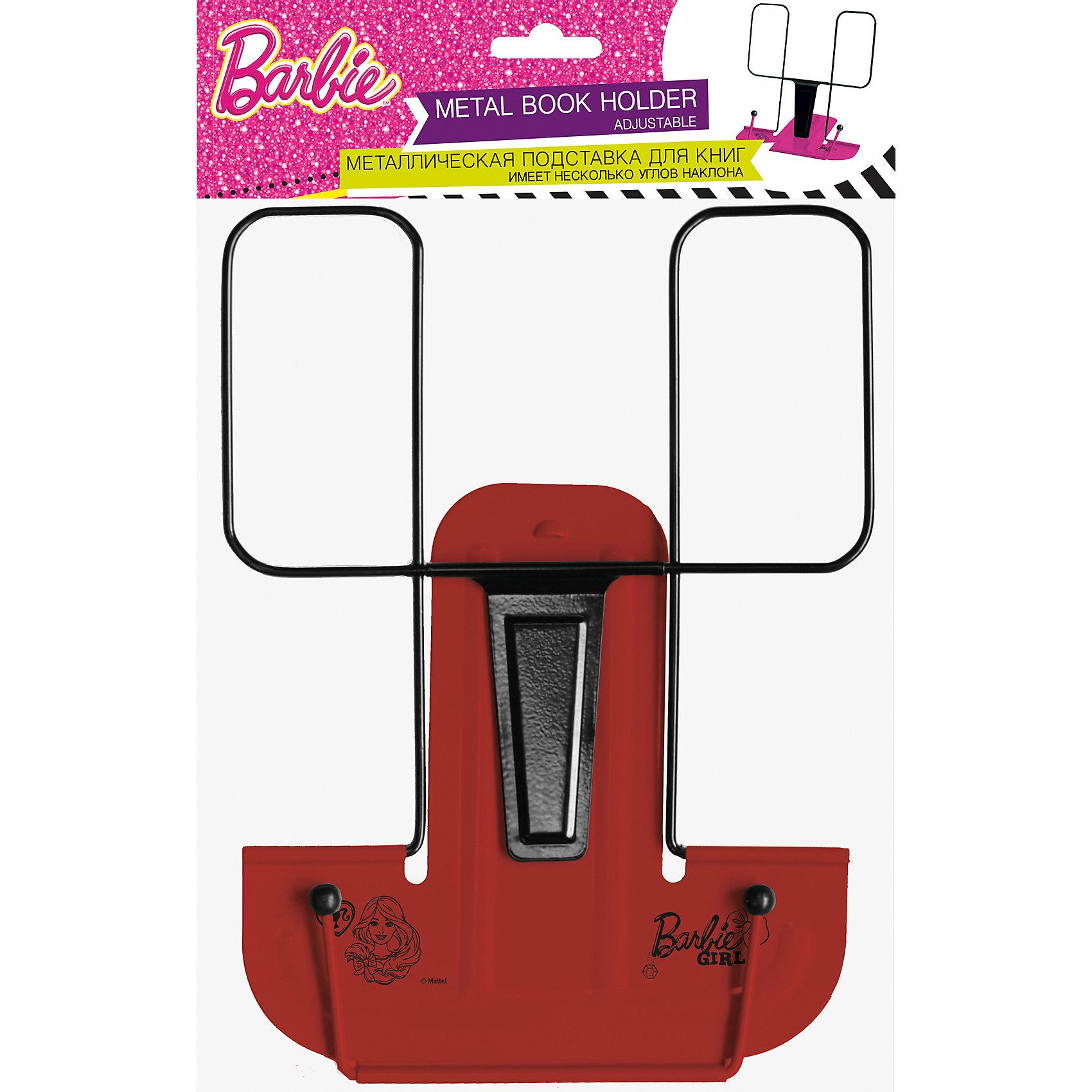 Металлическая подставка для книг, BarbieBarbie<br>Удобная подставка для книг Barbie станет незаменимым аксессуаром на столе у школьницы. Подставка имеет металлические держатель и основание, украшенное логотипом популярной куклы Барби и ее изображением. Оснащена пластиковым упором, благодаря чему имеет<br>несколько углов наклона. <br><br>Дополнительная информация:<br><br>- Материал: металл, пластик.<br>- Размер: 19 х 20 х 1,5 см.<br>- Вес: 148 гр.<br><br>Металлическую подставку для книг, Barbie, можно купить в нашем интернет-магазине.<br><br>Ширина мм: 5<br>Глубина мм: 210<br>Высота мм: 300<br>Вес г: 148<br>Возраст от месяцев: 96<br>Возраст до месяцев: 108<br>Пол: Женский<br>Возраст: Детский<br>SKU: 4489521