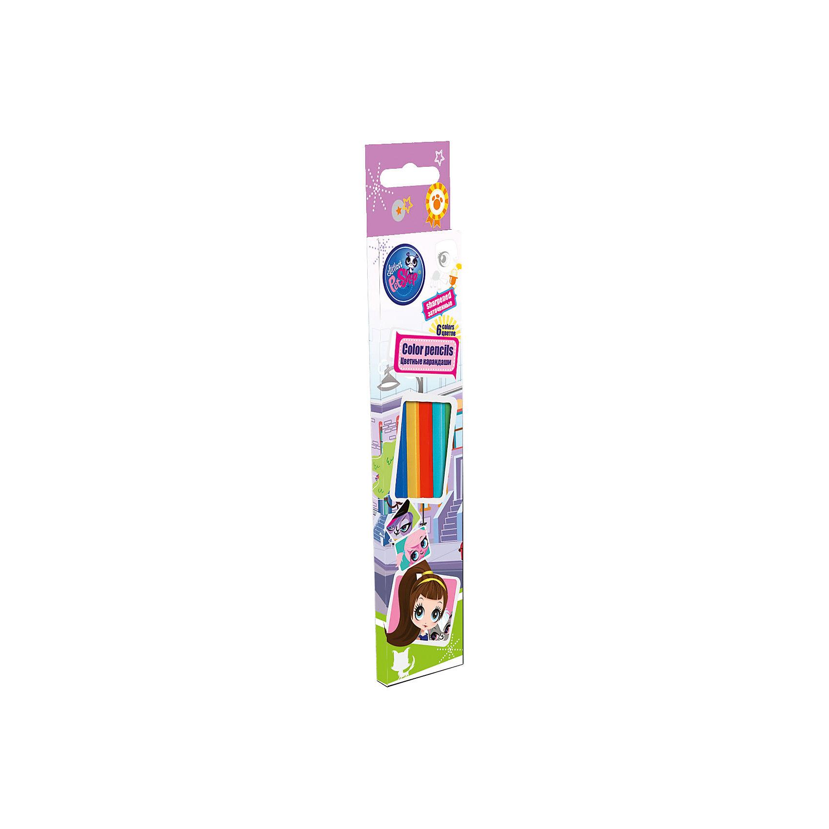 Цветные карандаши 6 шт, Littlest Pet ShopЦветные карандаши 6 шт, Littlest Pet Shop - эти карандаши прекрасно подходят для творческих занятий Вашего ребёнка!<br>Цветные карандаши Littlest Pet Shop откроют юным художникам новые горизонты для творчества, а также помогут развить мелкую моторику рук, цветовое восприятие, фантазию и воображение. В набор входят 6 заточенных карандашей, которые имеют деревянный корпус с лаковой отделкой. Карандаши обладают яркими цветами. Мягкий и прочный грифель и не царапает бумагу. Они станут прекрасным подарком для вашего ребенка и порадуют отличным качеством. Коробка оформлена в стиле известного мультсериала Littlest Pet Shop.<br><br>Дополнительная информация:<br><br>- В наборе: 6 цветных заточенных карандашей<br>- Длина: 17,8 см.<br>- Материал корпуса: древесина тополь<br>- Диаметр грифеля: 2,65 мм.<br>- Упаковка: картонная коробка с европодвесом<br>- Размер упаковки: 21 х 4,5 х 1 см.<br>- Вес: 28 гр.<br><br>Цветные карандаши 6 шт, Littlest Pet Shop можно купить в нашем интернет-магазине.<br><br>Ширина мм: 45<br>Глубина мм: 10<br>Высота мм: 210<br>Вес г: 28<br>Возраст от месяцев: 48<br>Возраст до месяцев: 84<br>Пол: Женский<br>Возраст: Детский<br>SKU: 4489544