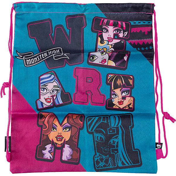 Сумка-рюкзак для обуви, Monster HighMonster High Сумки и рюкзаки<br>Сумка-рюкзак для обуви, Monster High, идеально подойдет для сменной обуви маленькой школьницы и для физкультурной формы. Сумка из прочной непромокаемой ткани содержит внутри одно вместительное отделение, затягивающееся с помощью текстильных шнурков. Шнурки фиксируются в нижней части сумки, благодаря чему ее можно носить за спиной как рюкзак. Сумка выполнена в розовых и голубых тонах и украшена изображениями очаровательных героинь из популярного мультсериала Школа монстров.<br><br>Дополнительная информация:<br><br>- Материал: полиэстер.<br>- Размер: 43 х 34 х 1 см.<br>- Вес: 48 гр. <br><br>Сумку-рюкзак для обуви, Monster High, можно купить в нашем интернет-магазине.<br>Ширина мм: 10; Глубина мм: 340; Высота мм: 430; Вес г: 48; Возраст от месяцев: 120; Возраст до месяцев: 144; Пол: Женский; Возраст: Детский; SKU: 4489565;